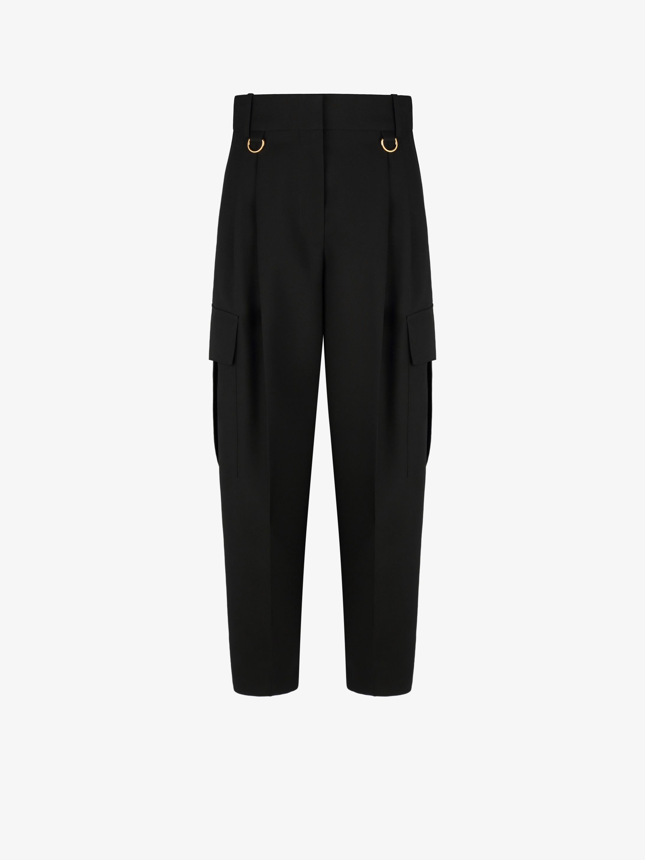Cargo pants in lightweight wool with metallic details