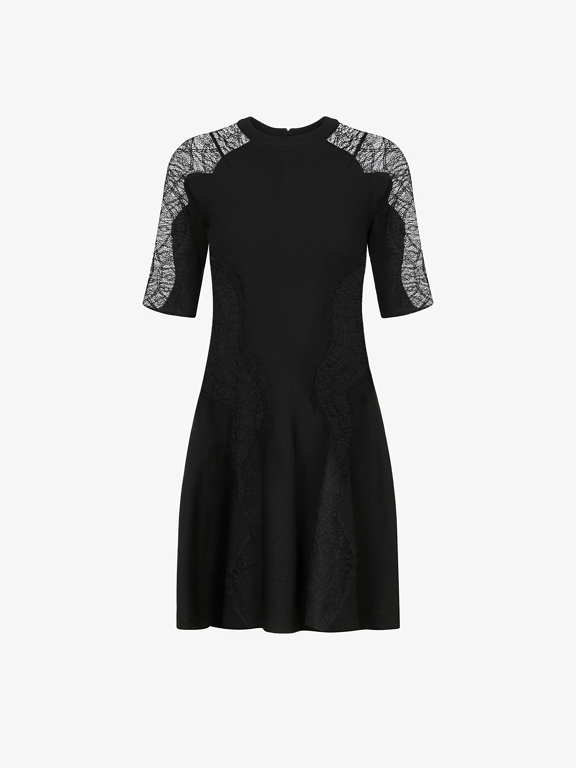 Gored dress in crêpe de viscose and lace