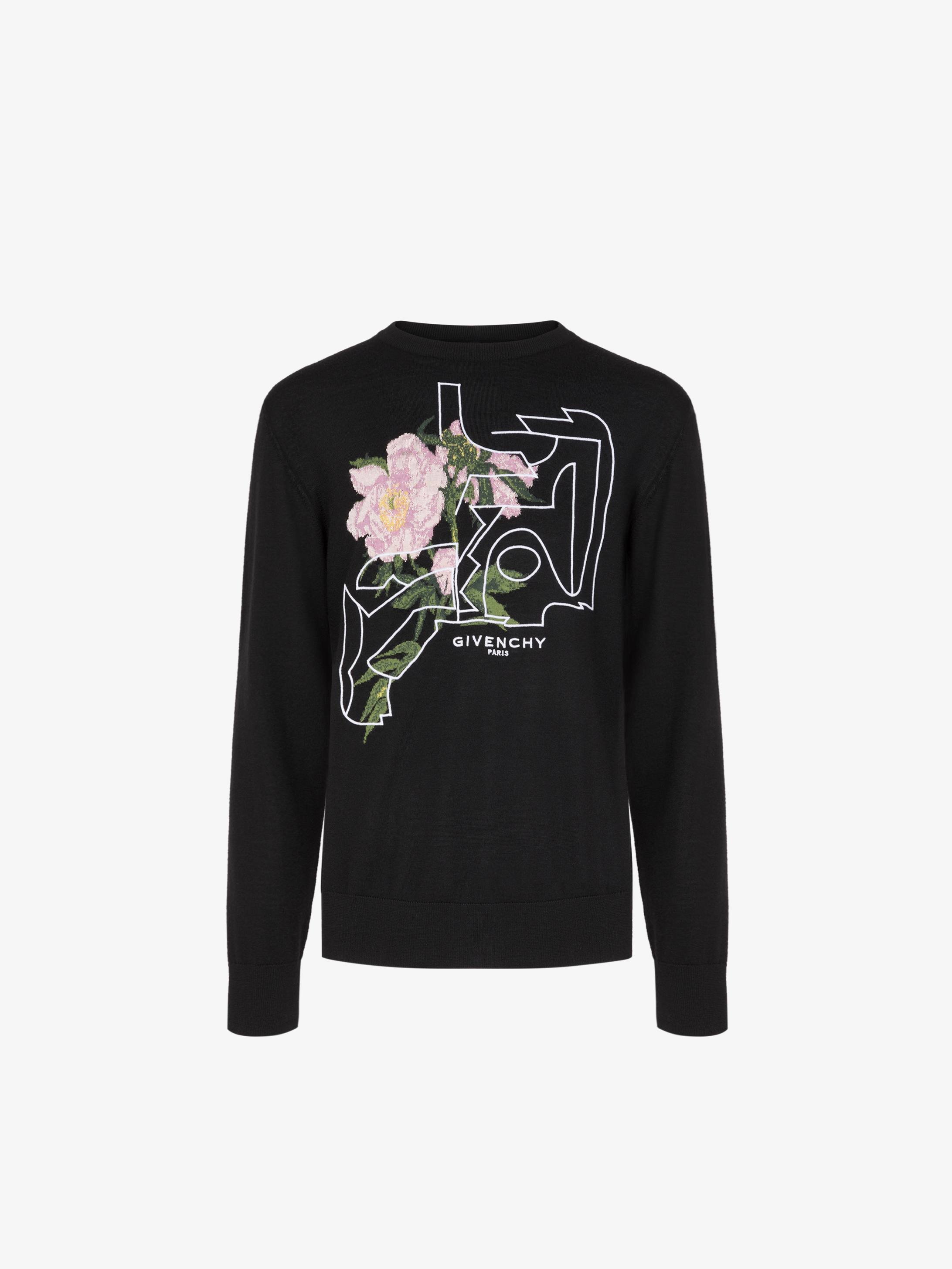 Peony embroidered sweater in jacquard