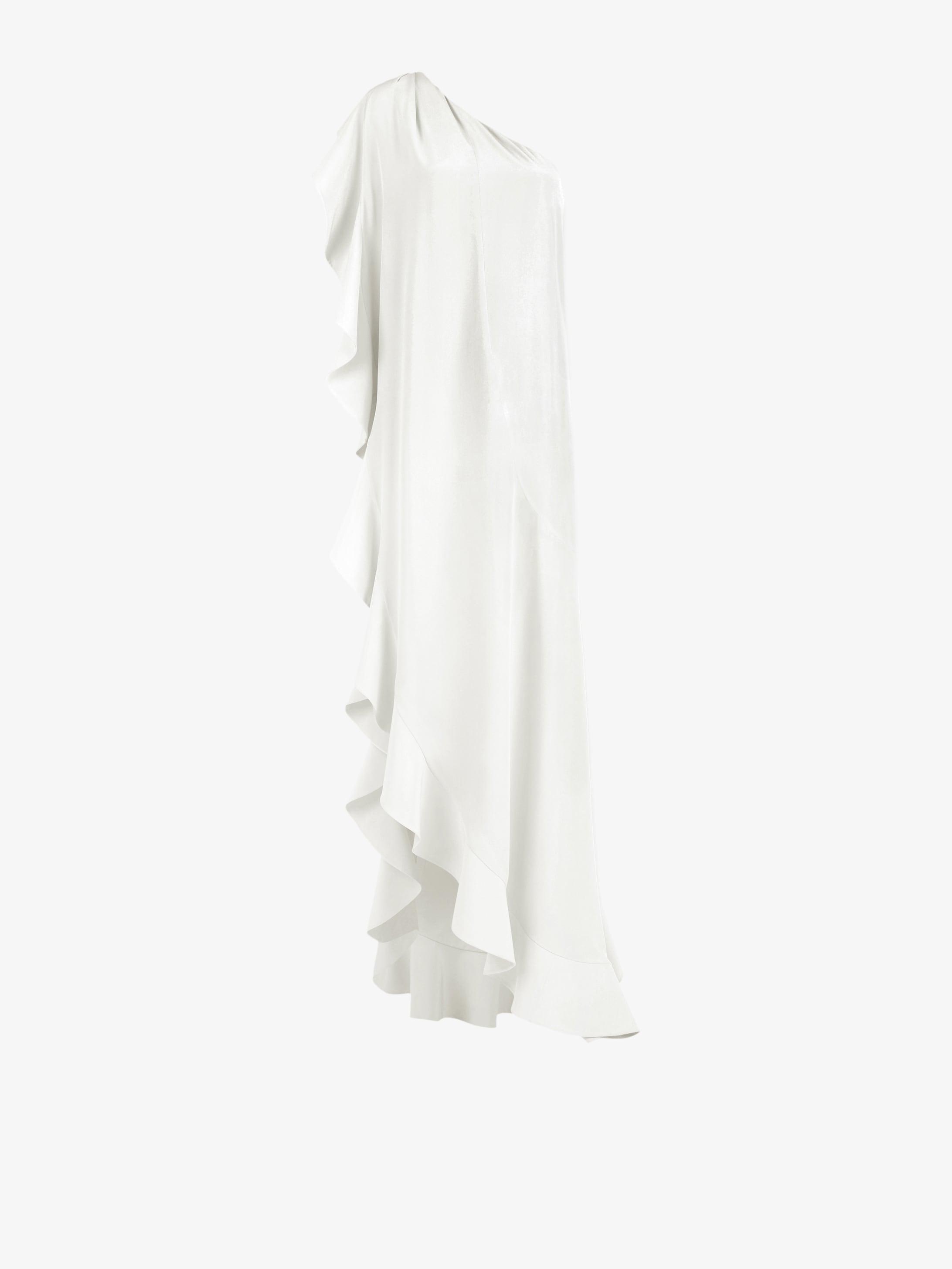 Long asymmetric dress with ruffles