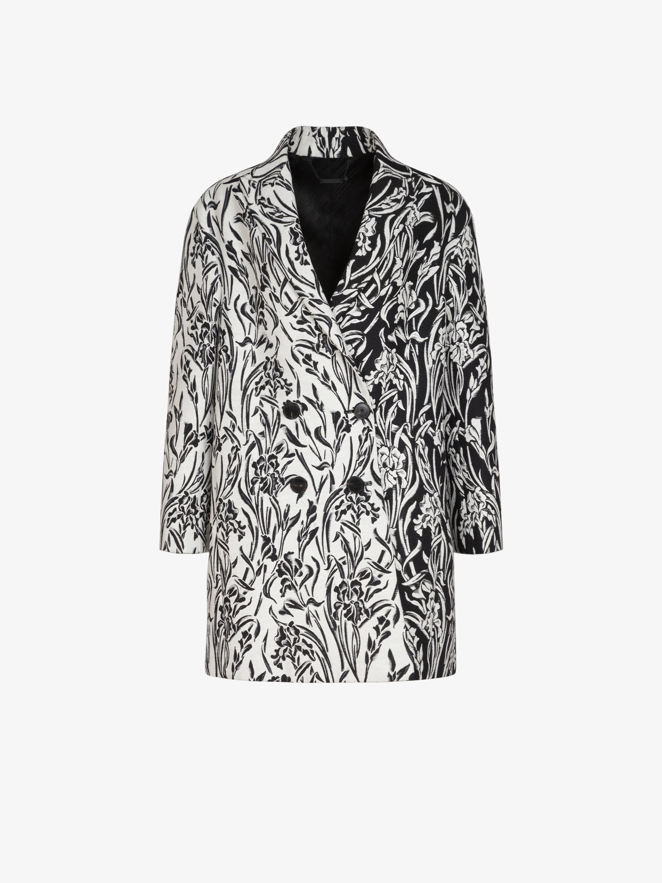 Two tone coat in floral jacquard