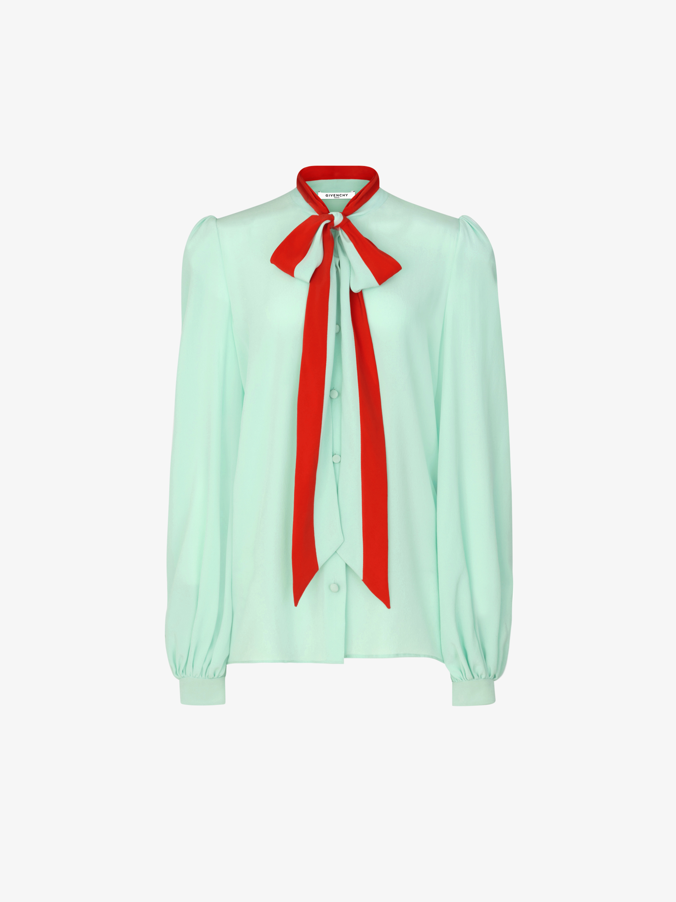 Shirt with lavalliere collar