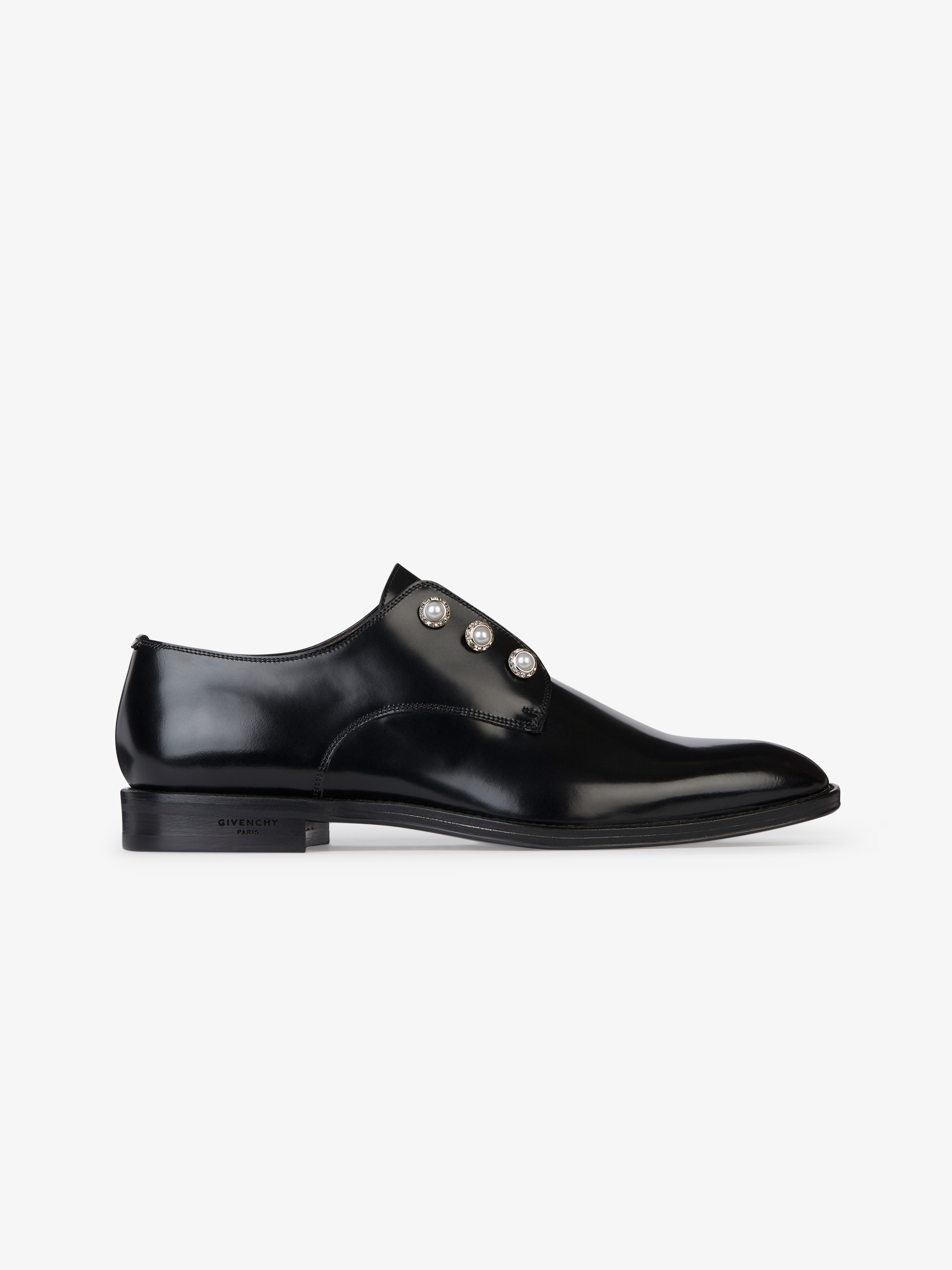Derbies elastic in Box leather