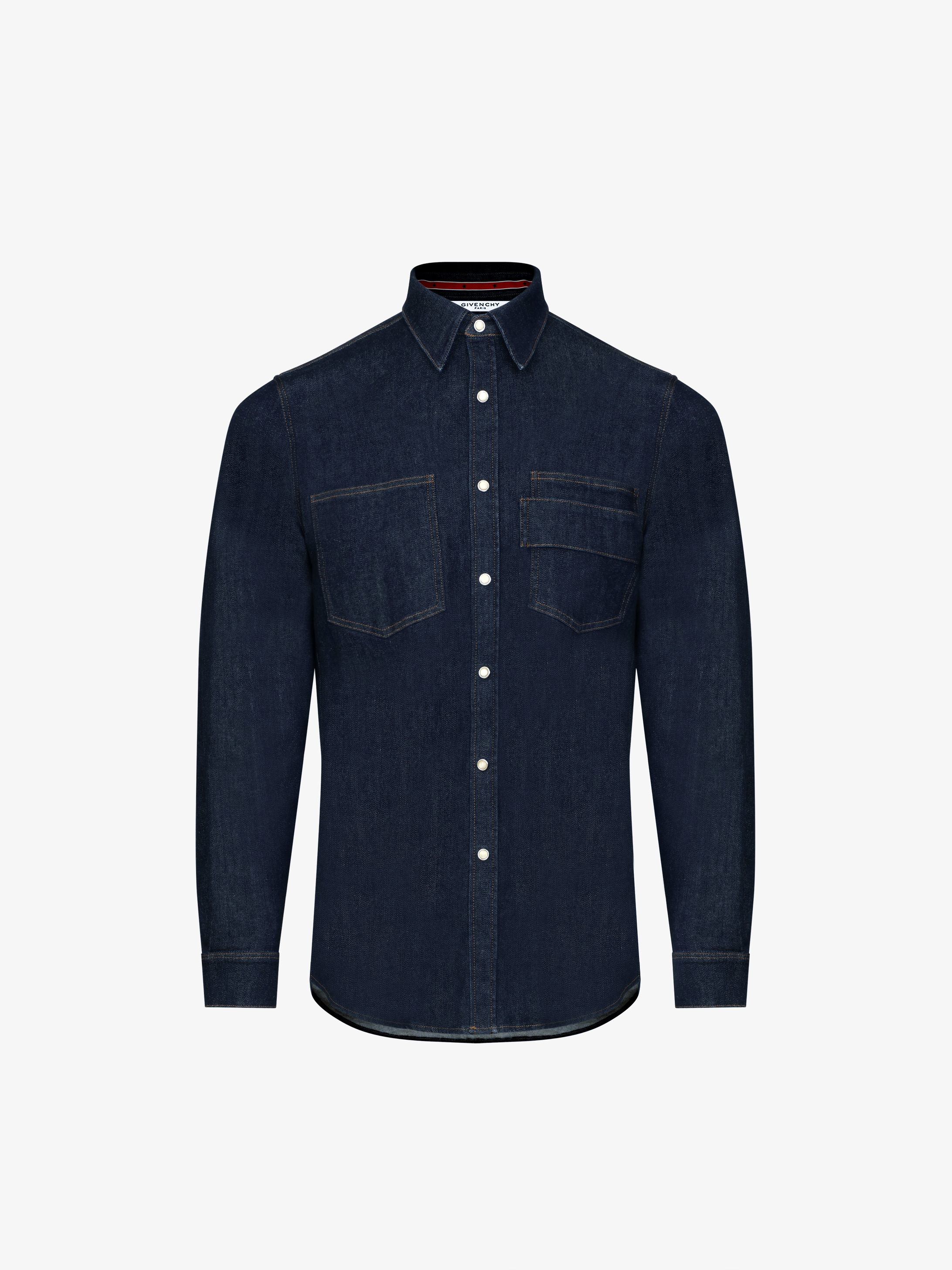 Denim shirt with chest band