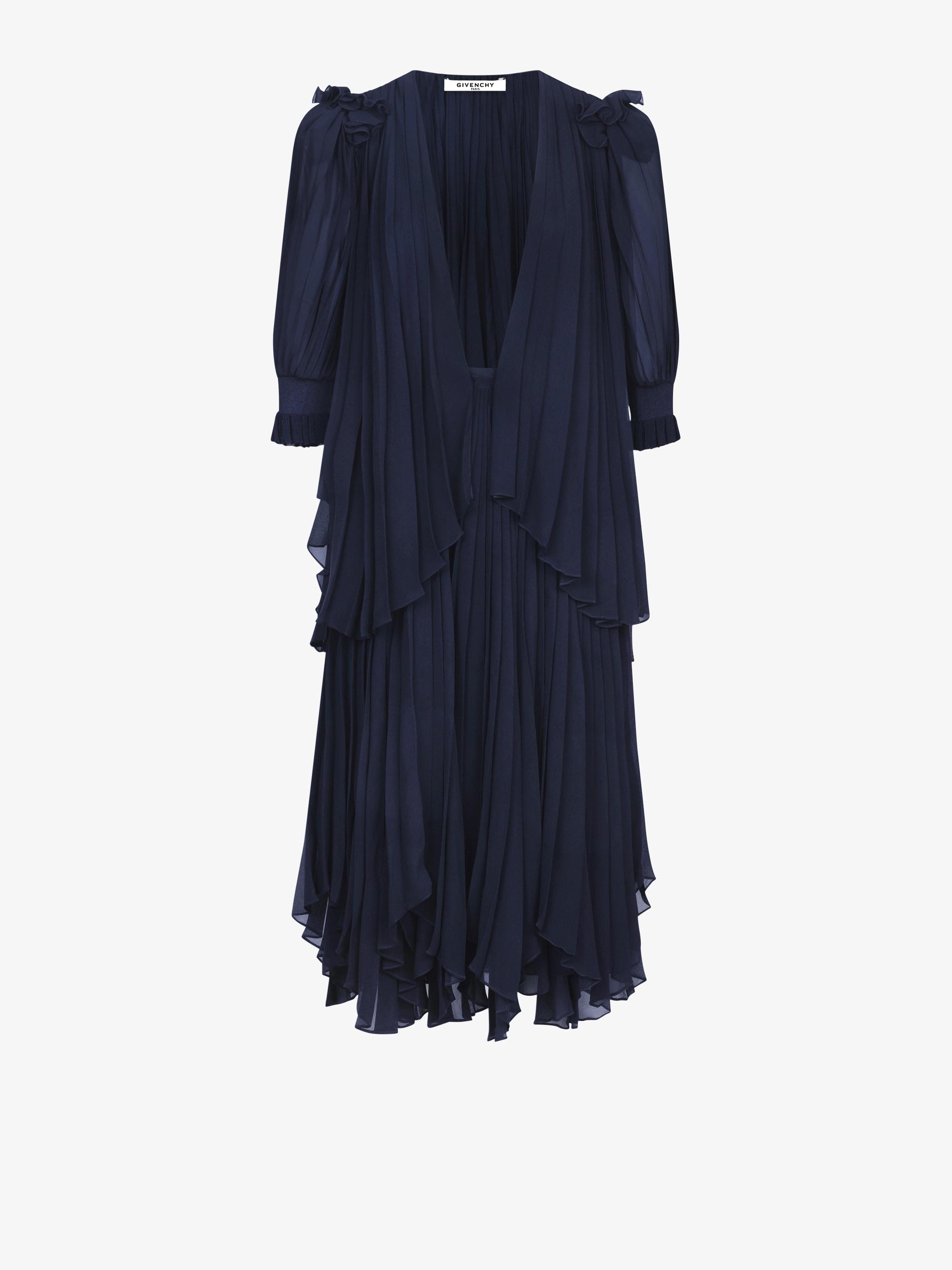 Pleated mid long dress