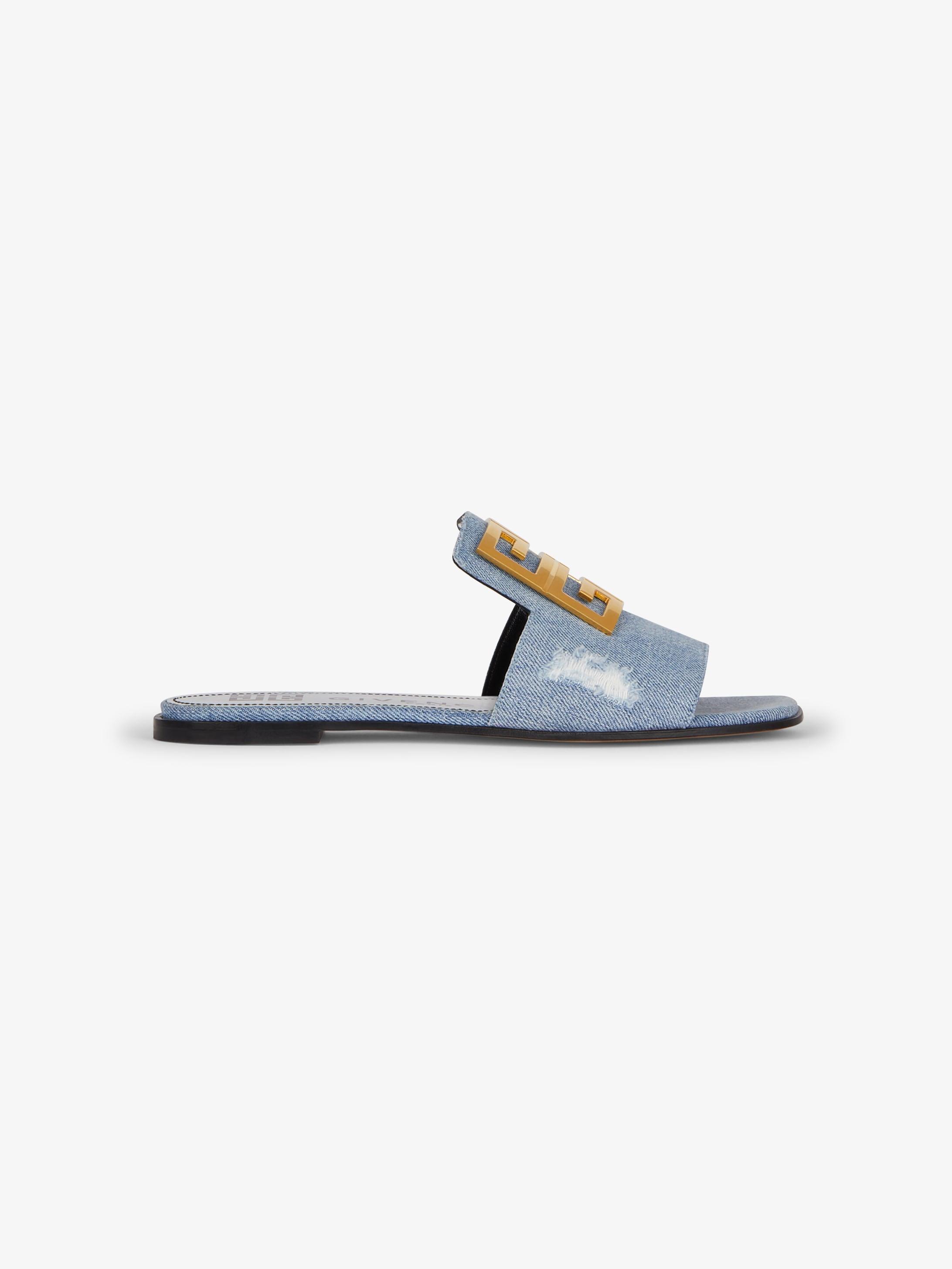 4 G sandals in destroyed denim