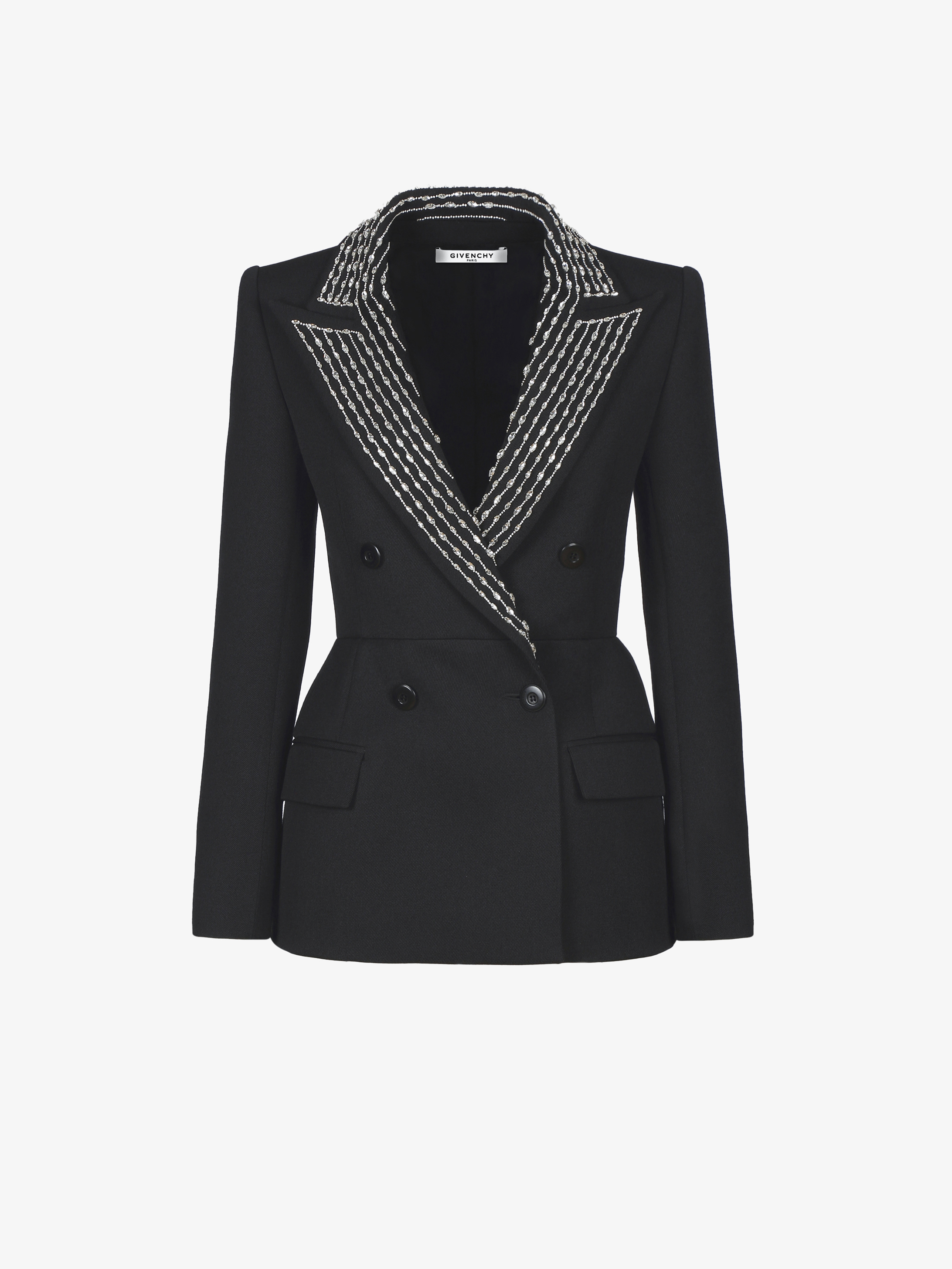 Jacket with crystal-embroidered peak lapel