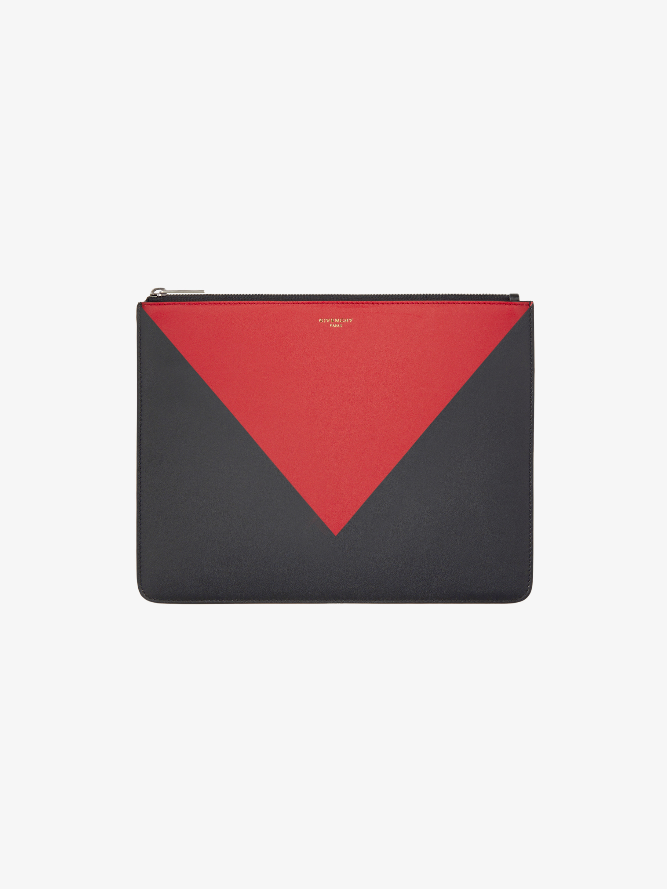 Two-toned Large pouch in leather