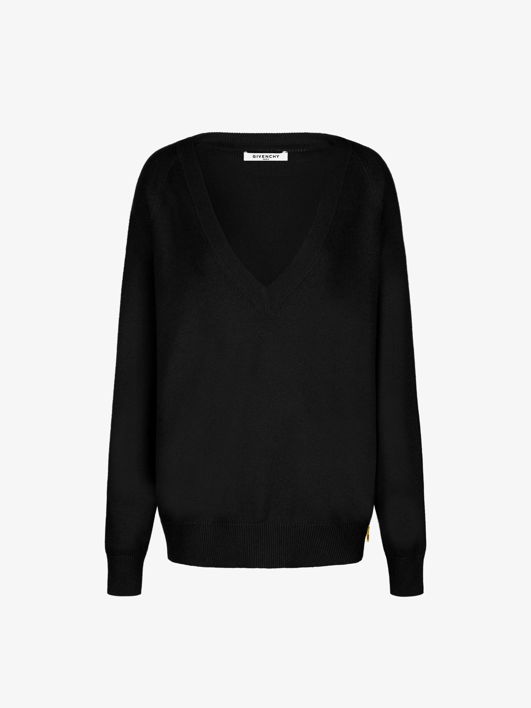 ウール&カシミア ジップ付き Vネックセーター