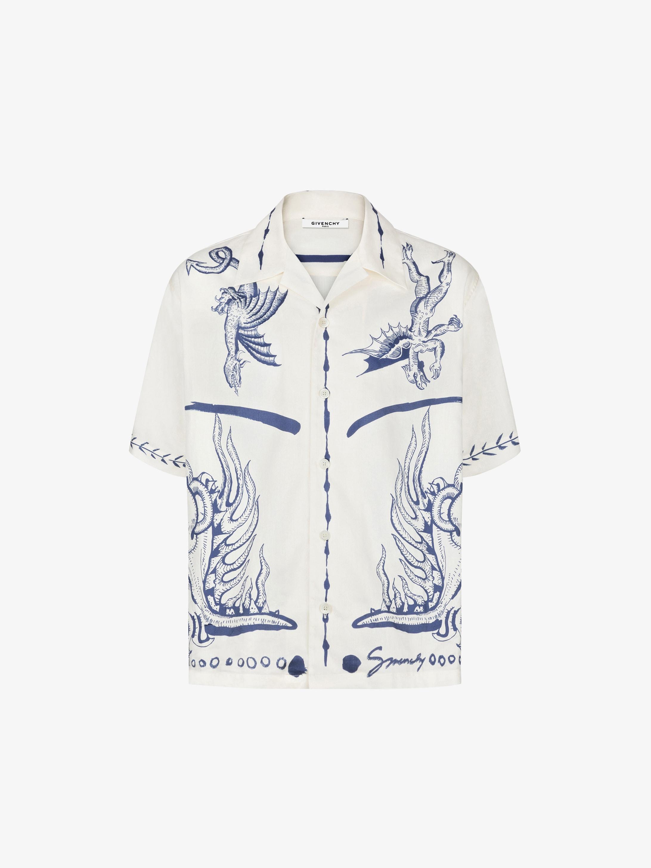 Icarus printed hawaiian shirt in satin