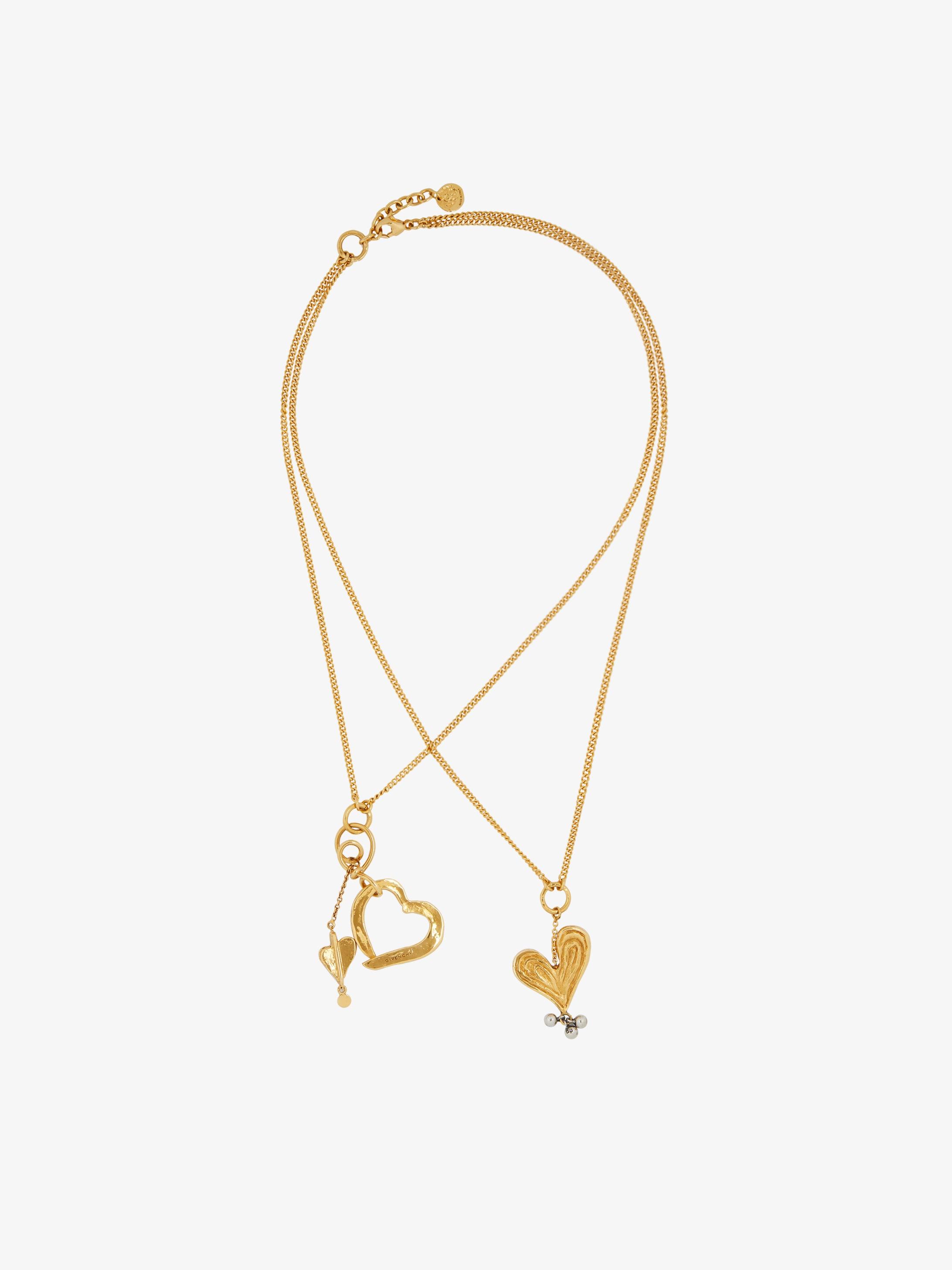 Double chain Heart pendant necklace