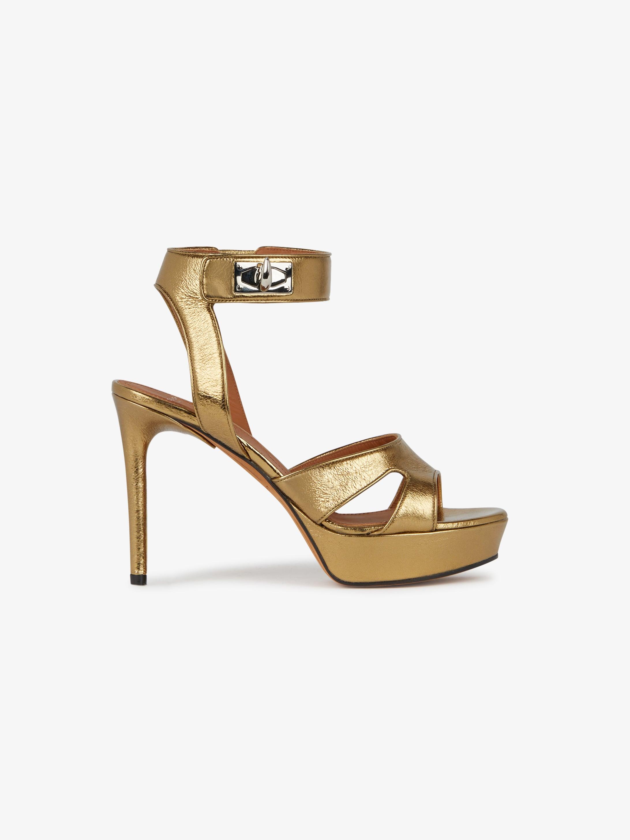 aa7e5461f52 Shark Lock sandals in metallic leather