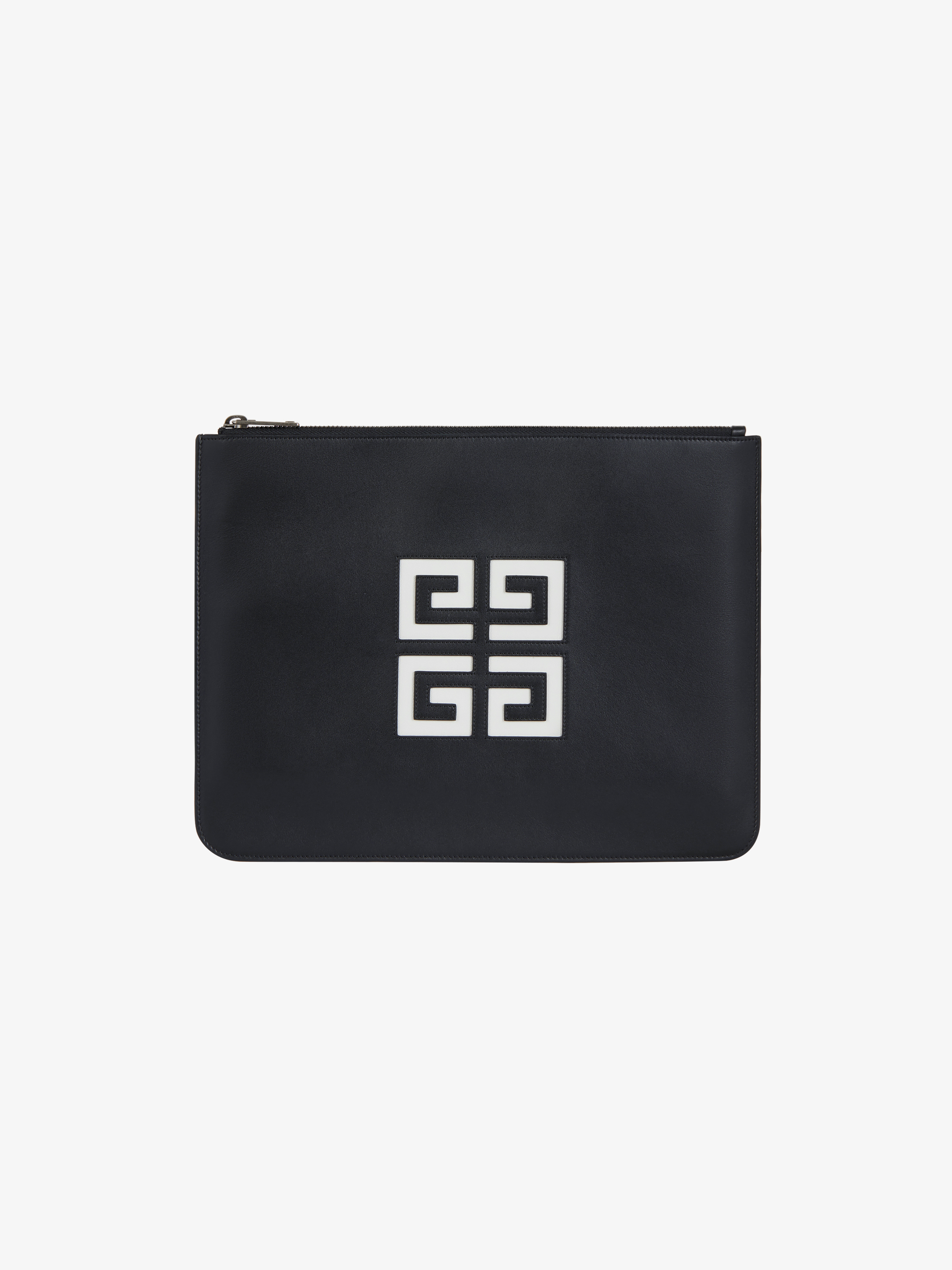 4G large zipped pouch in leather