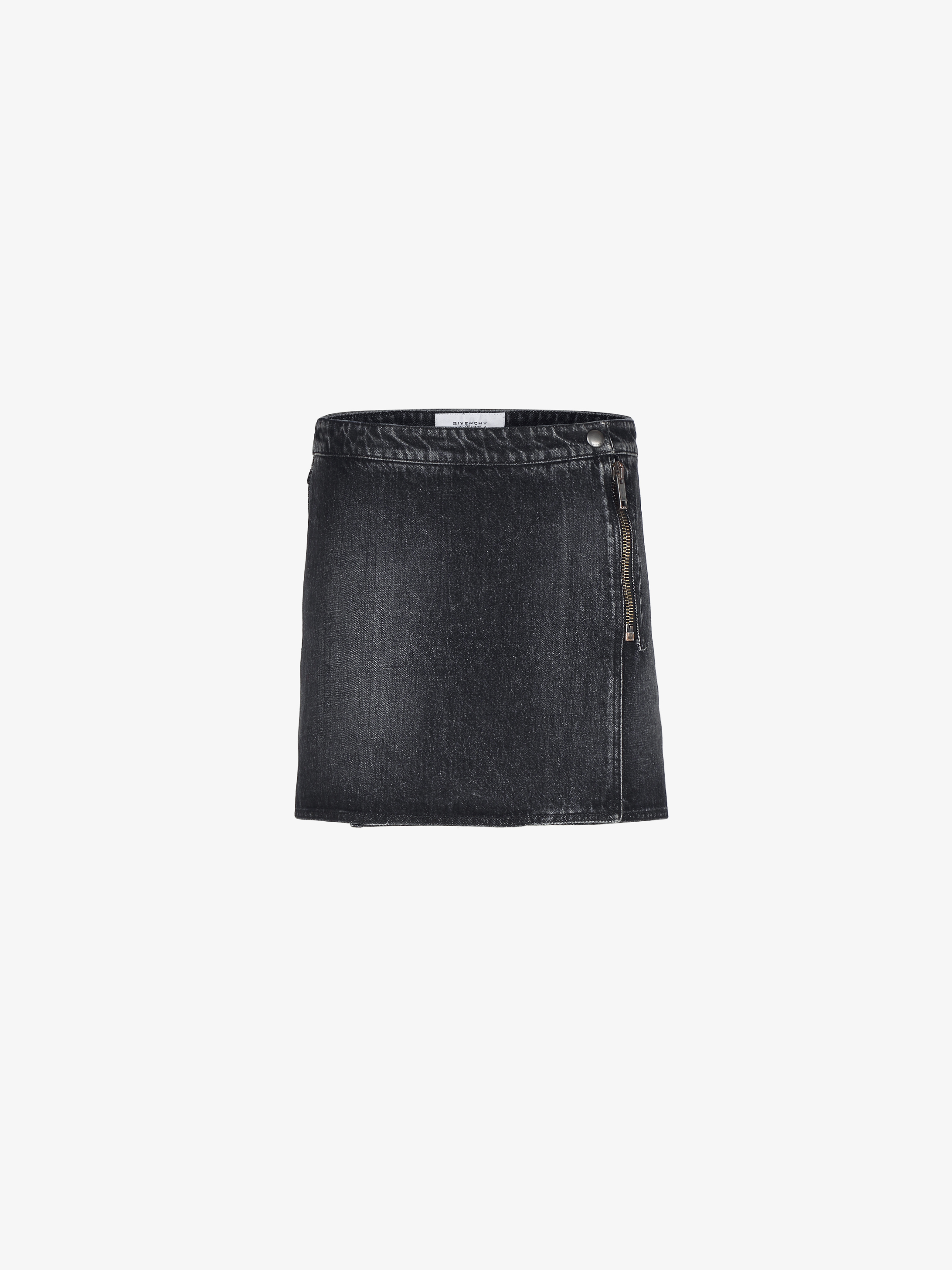 Wrap mini skirt in vintage denim