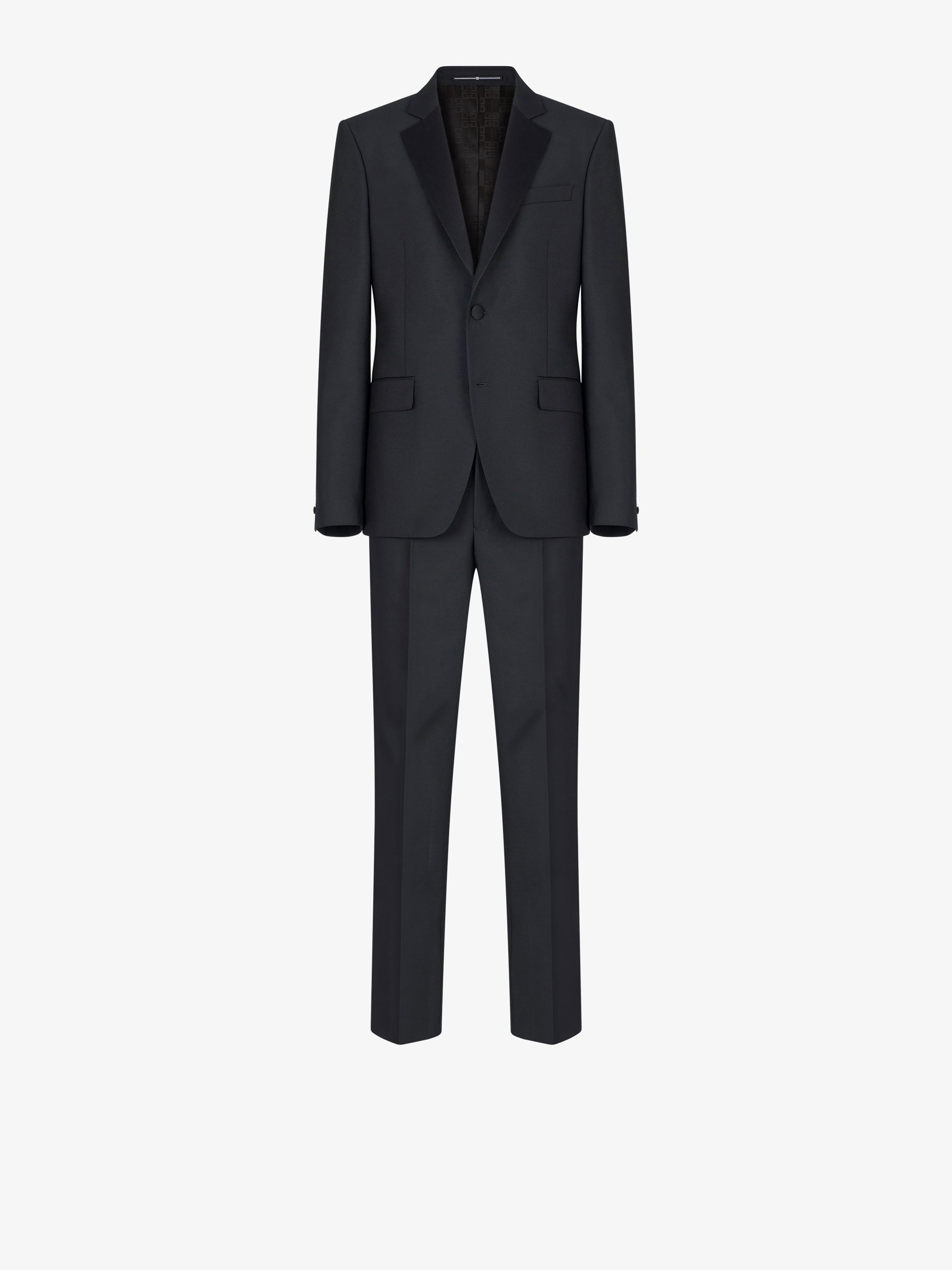Slim fit tuxedo in wool and mohair with satin collar