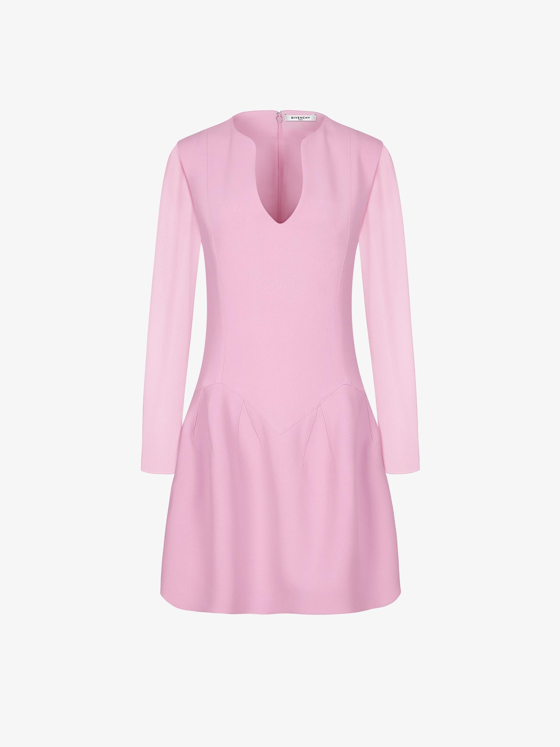 Short dual-fabric dress