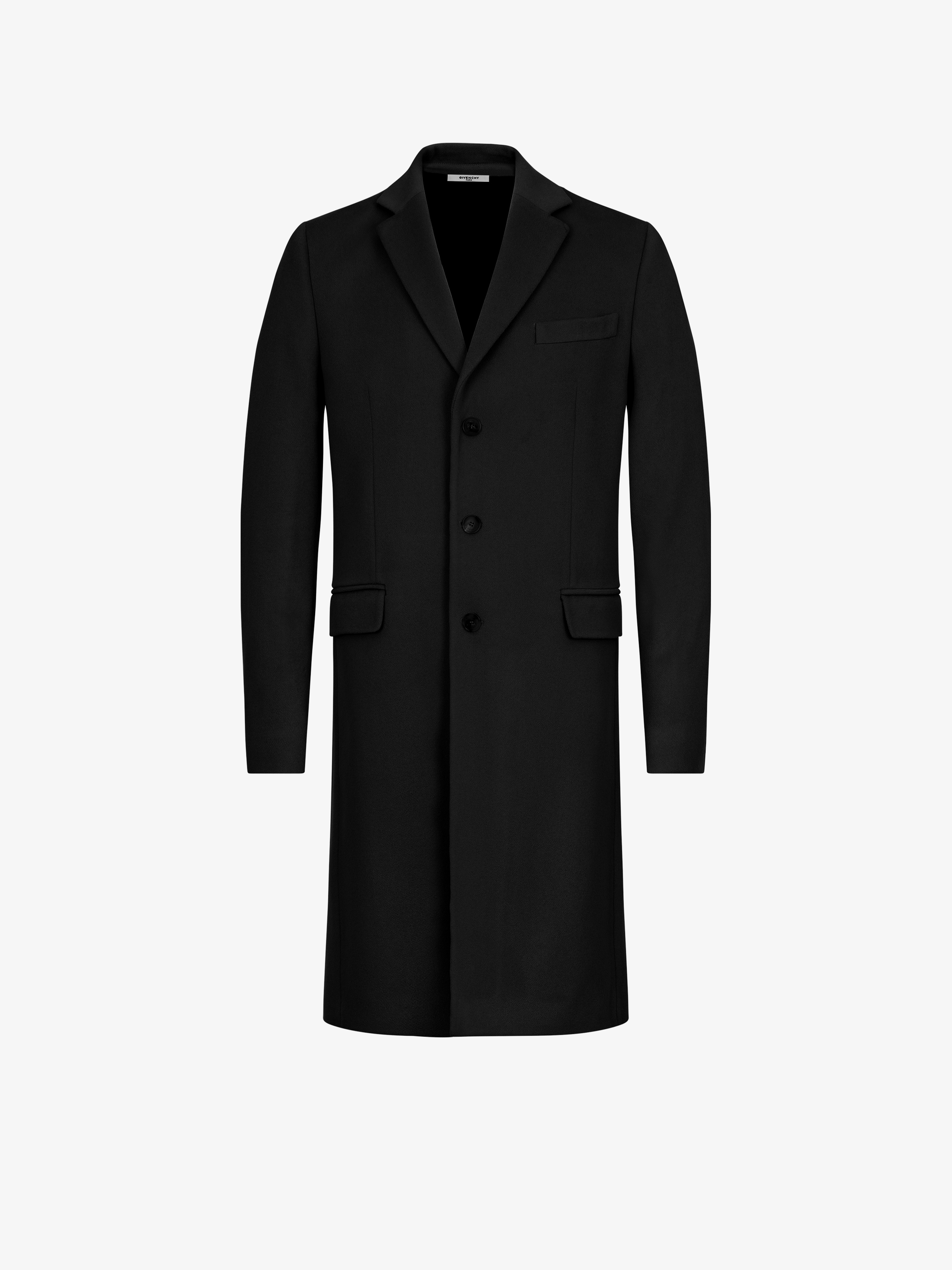 Contrasting cuffs coat in wool and cashmere
