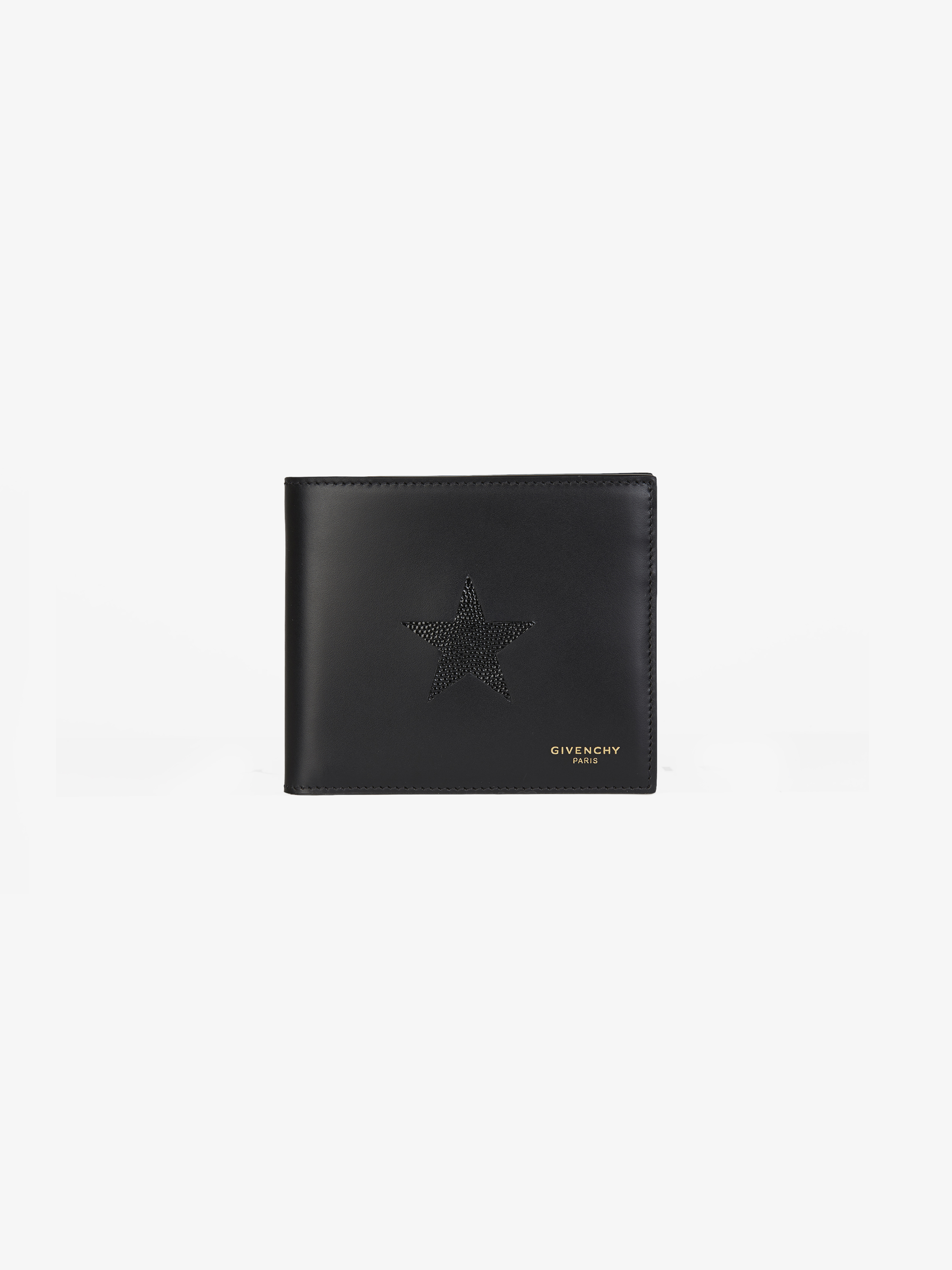 Contrasting star wallet in leather