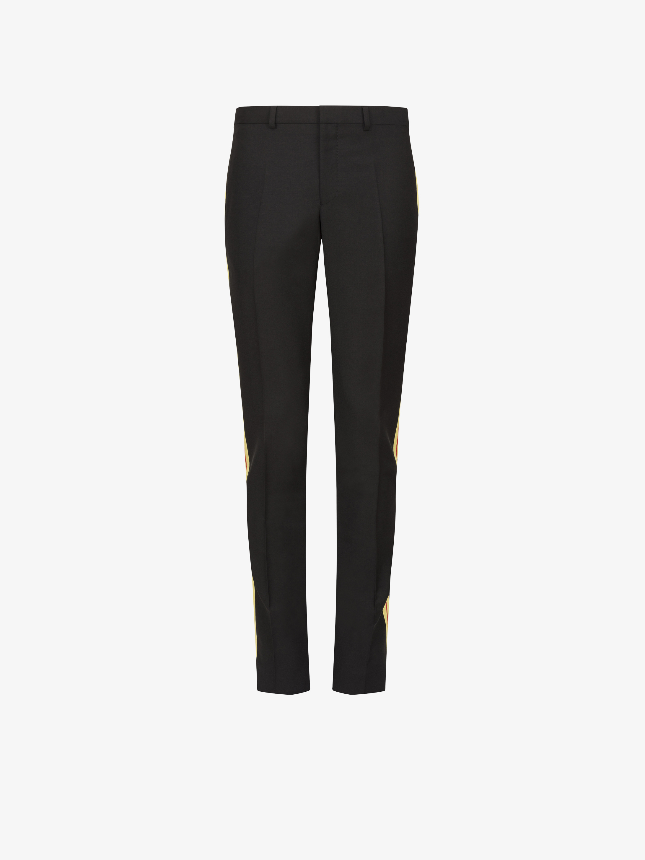 Contrasting side bands slim fit trousers