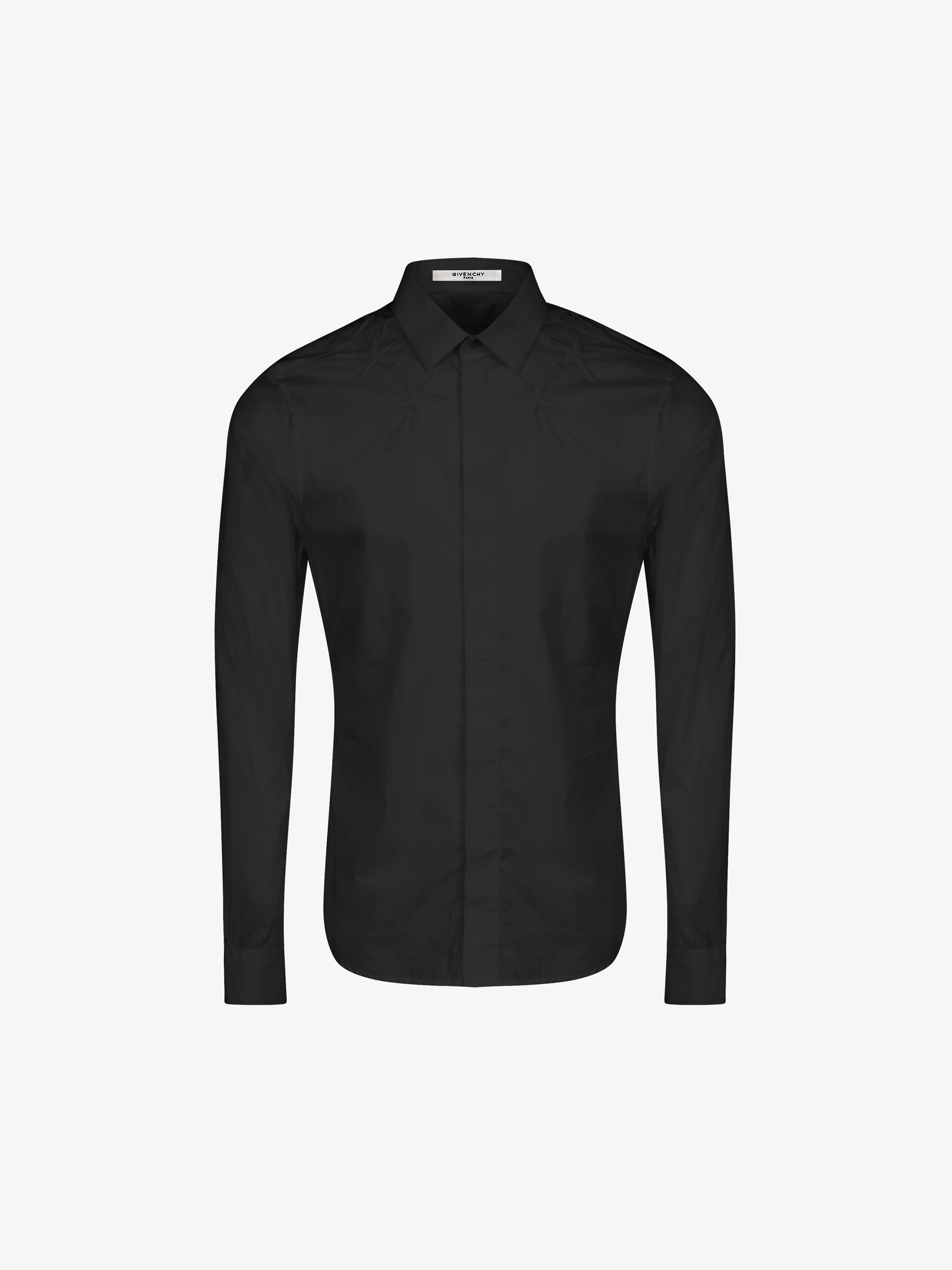 Stars embroidered slim fit shirt