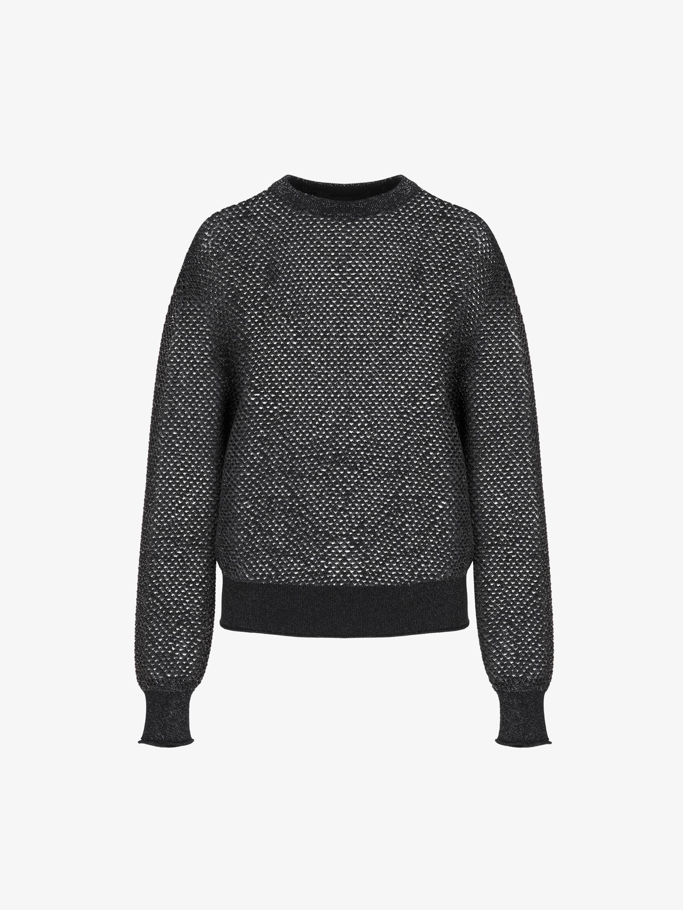 Crew neck mesh sweater in lurex