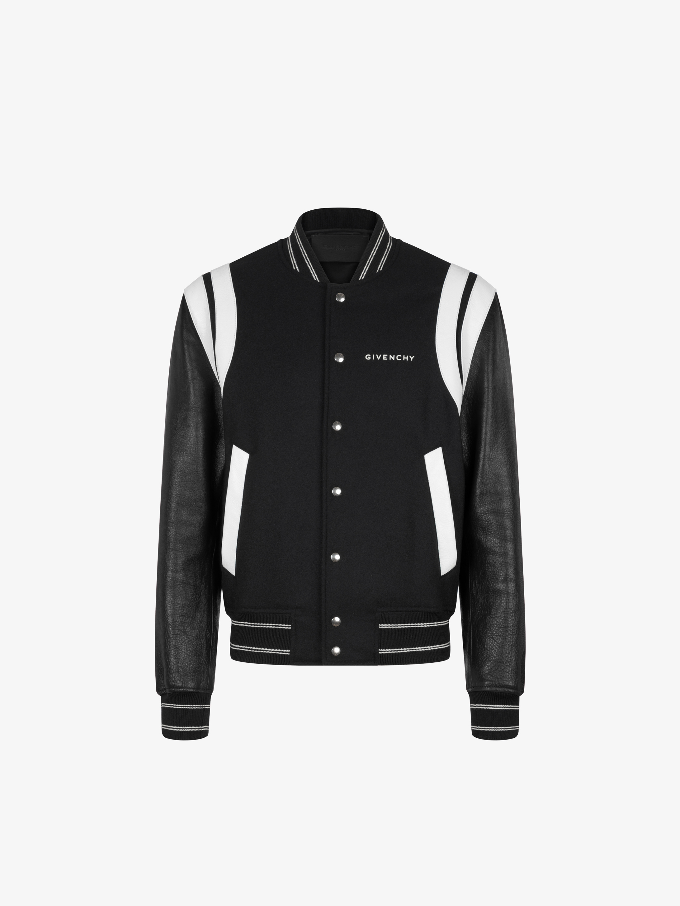 GIVENCHY Split bomber jacket in wool and leather