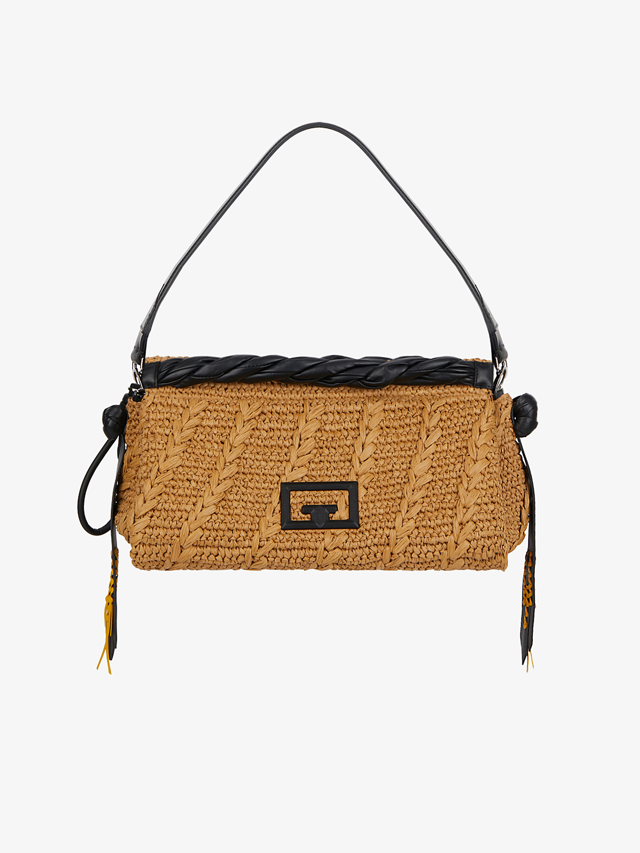 Large ID93 bag in raffia and leather