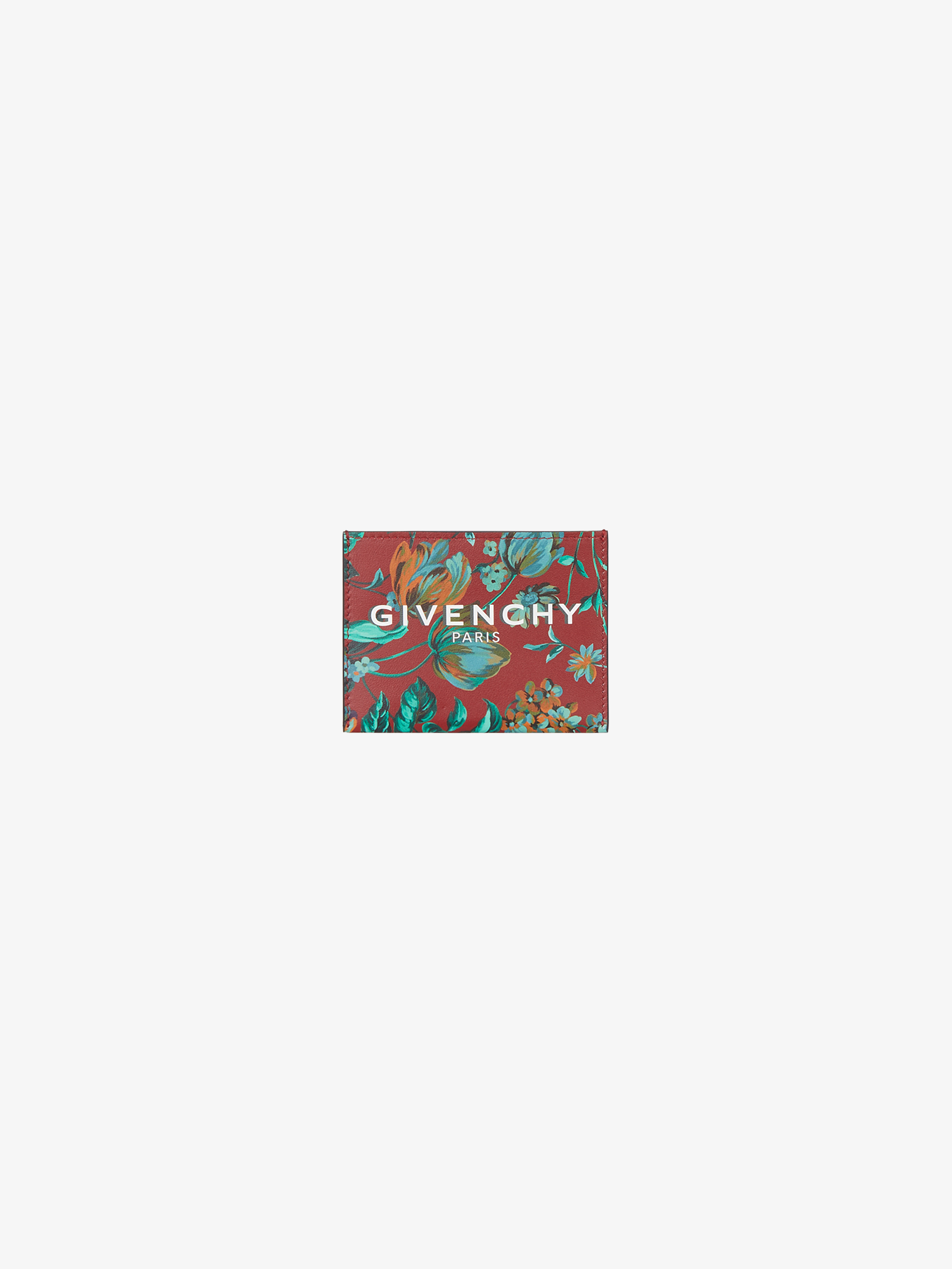 GIVENCHY PARIS card holder in floral printed leather