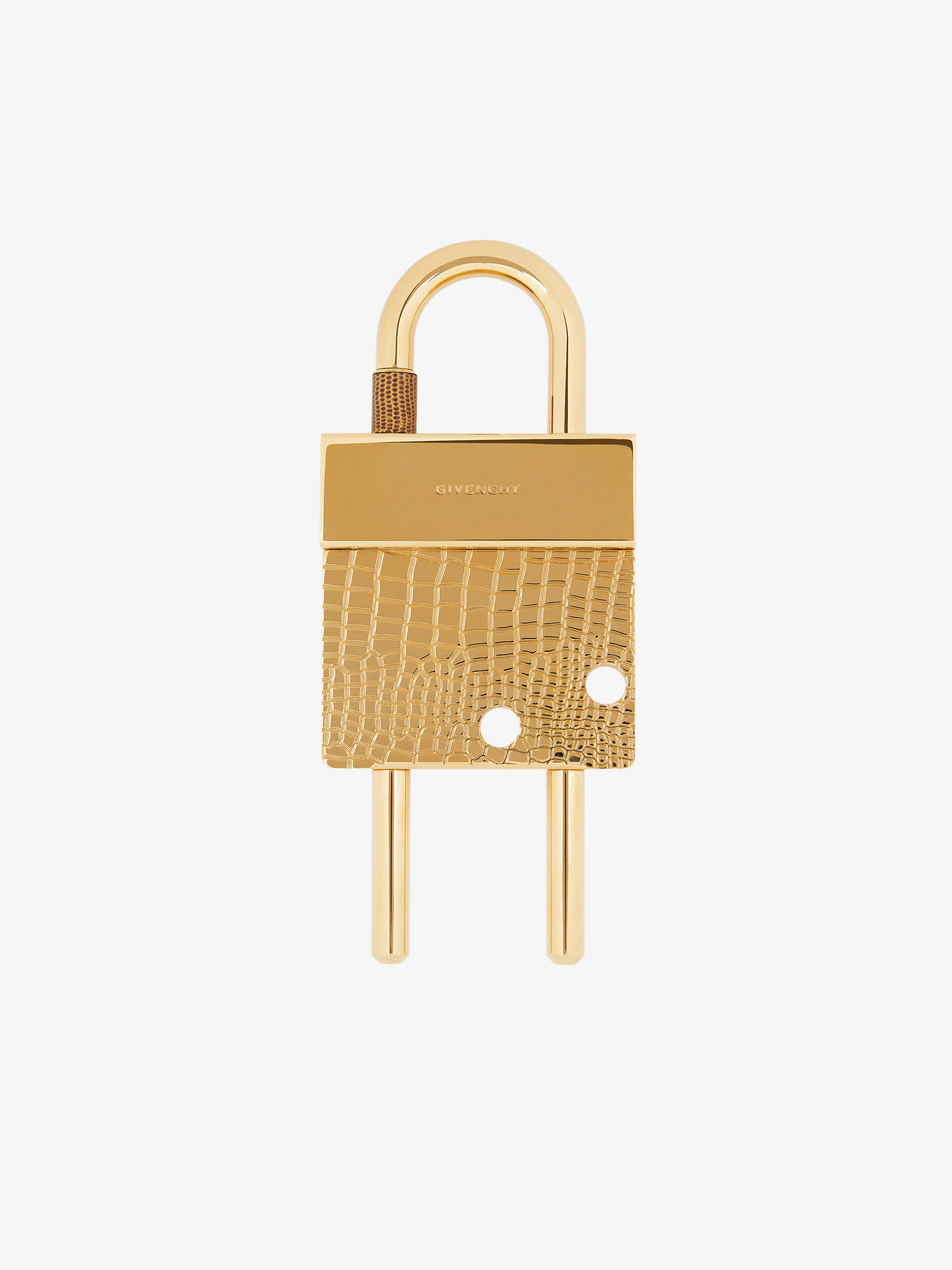 Maxi padlock in crocodile effect metal