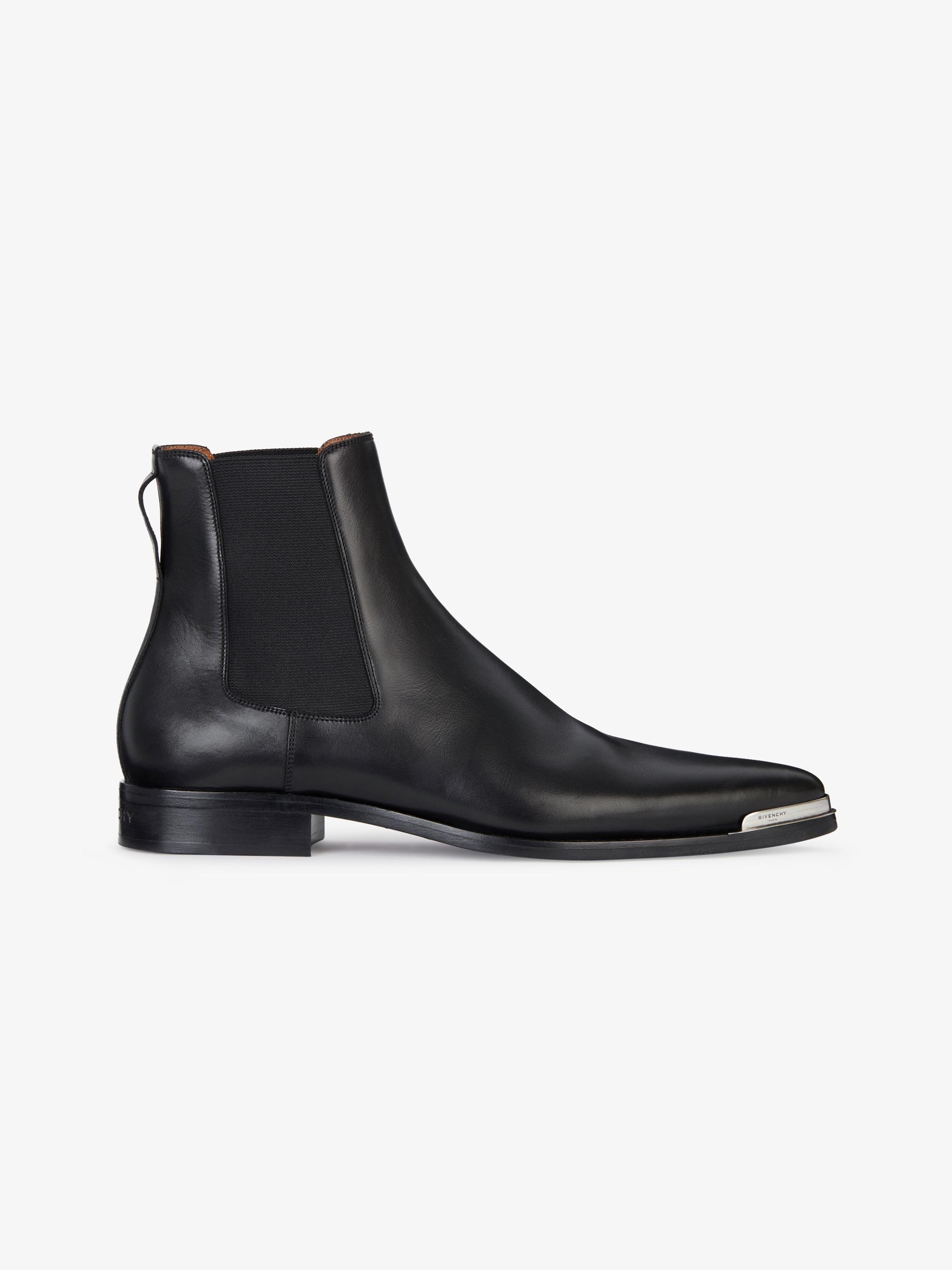 金属鞋尖Dallas皮革切尔西靴