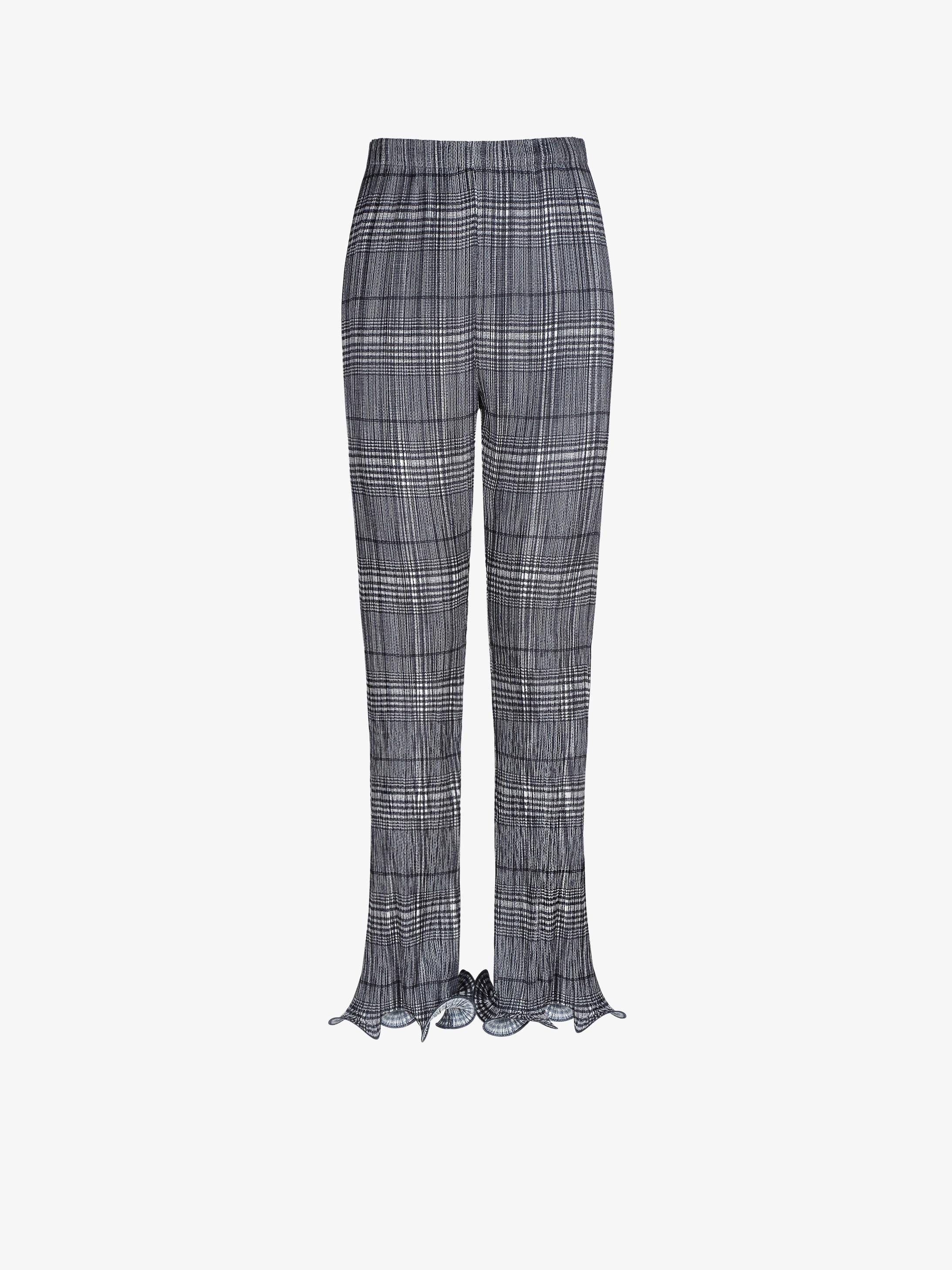 格纹缎面褶裥长裤
