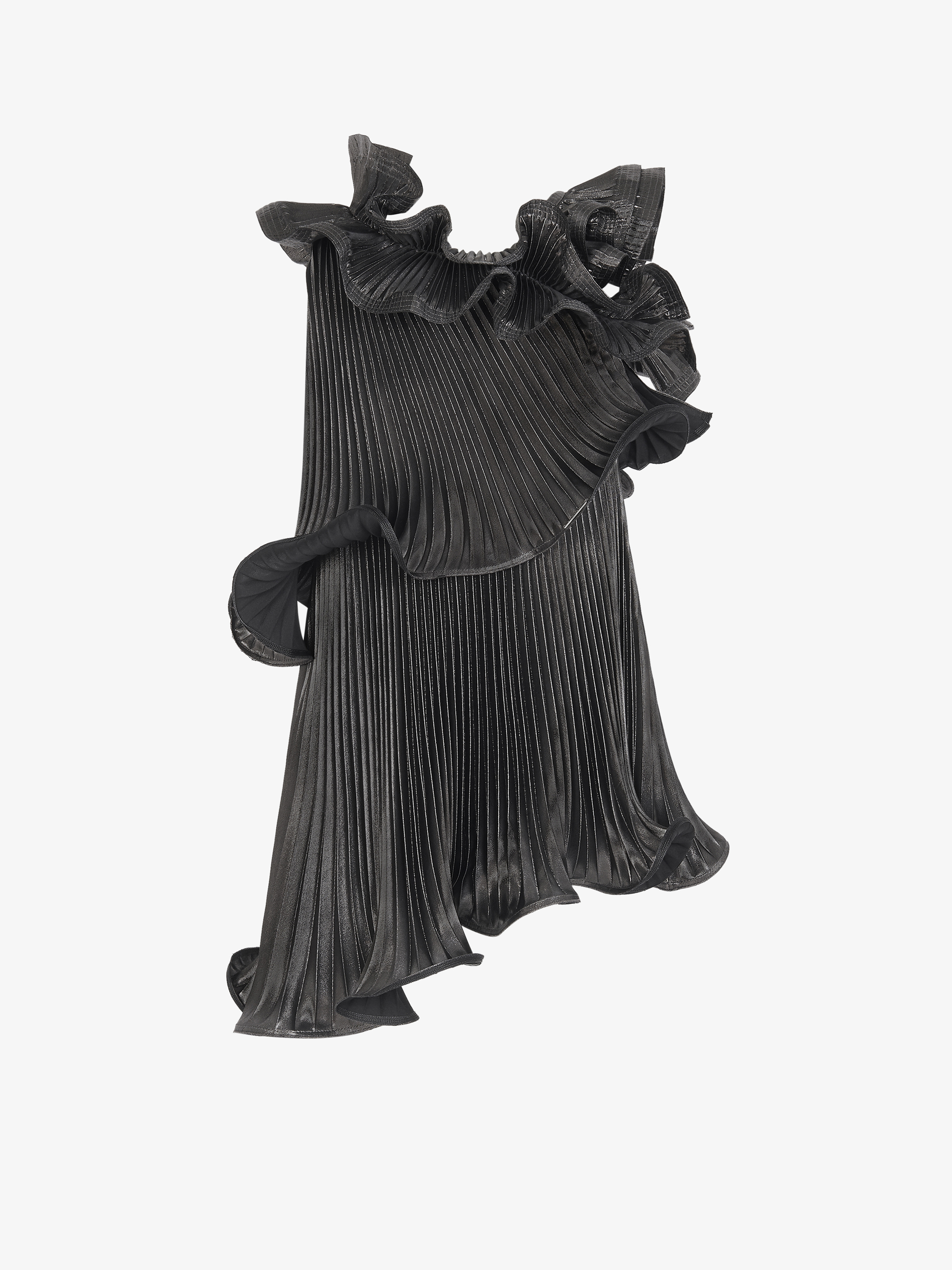 Pleated dress with flounces