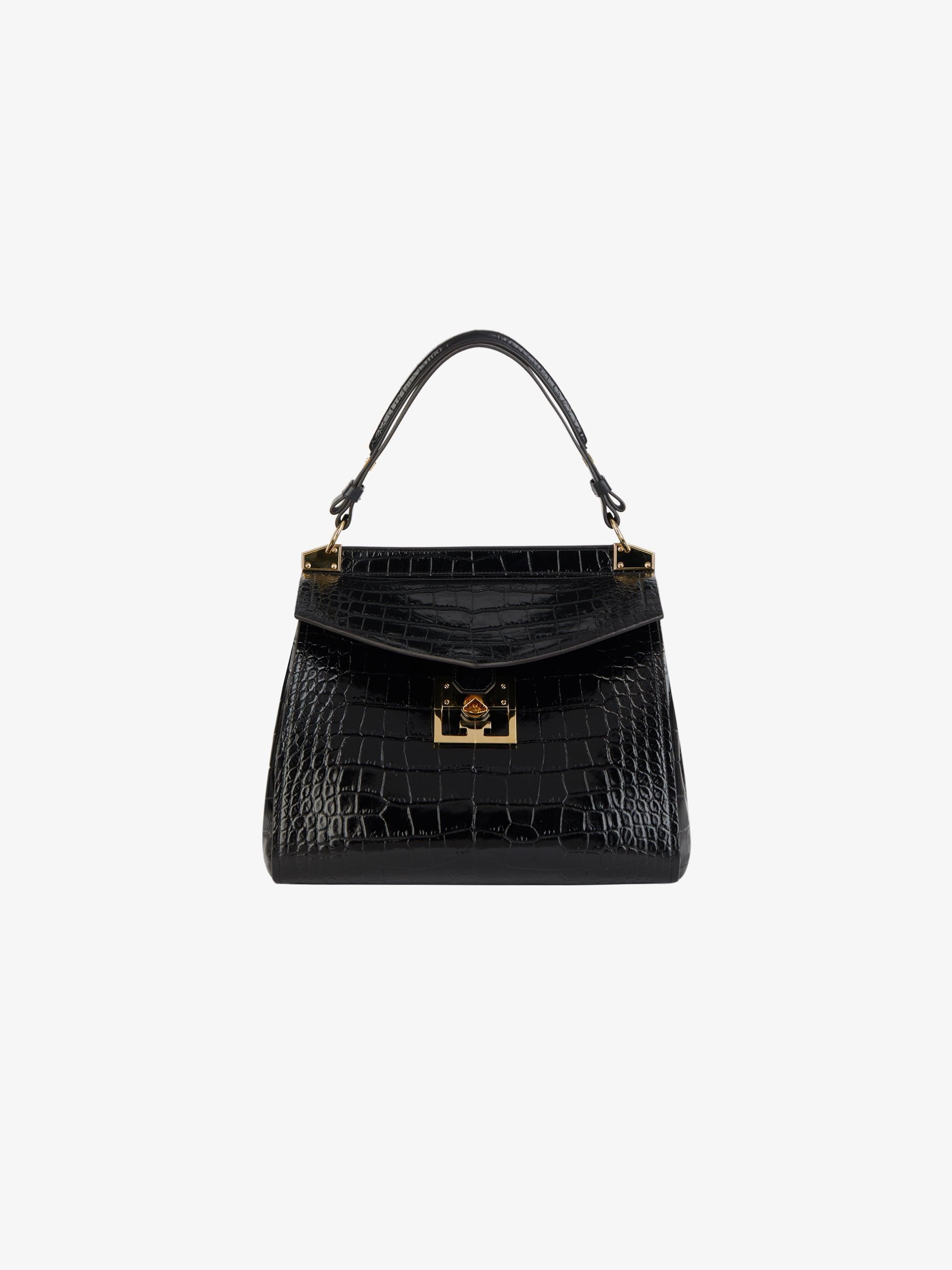 Medium Mystic bag in crocodile effect leather