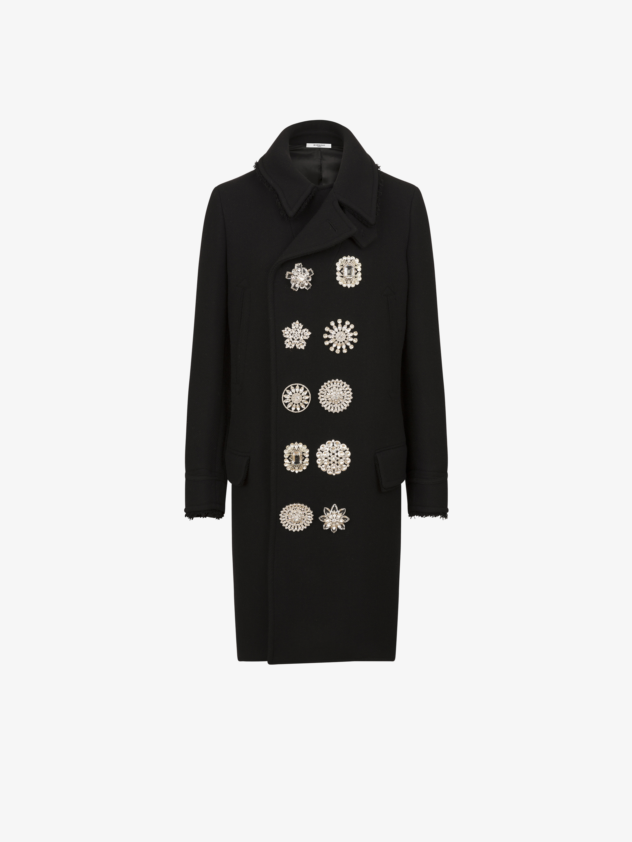 Long peacoat with jewels buttons