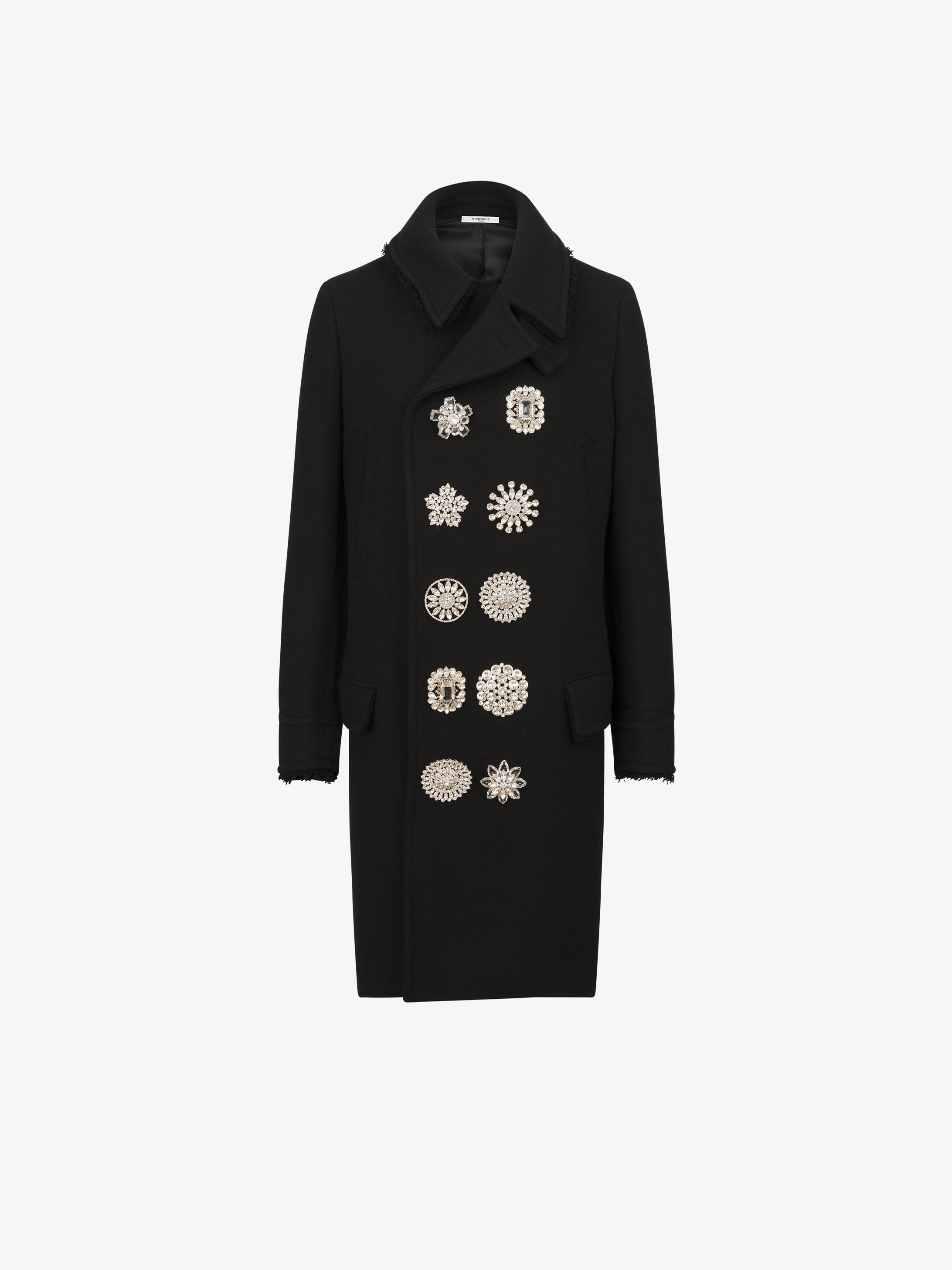 Caban lungo con bottoni gioiello