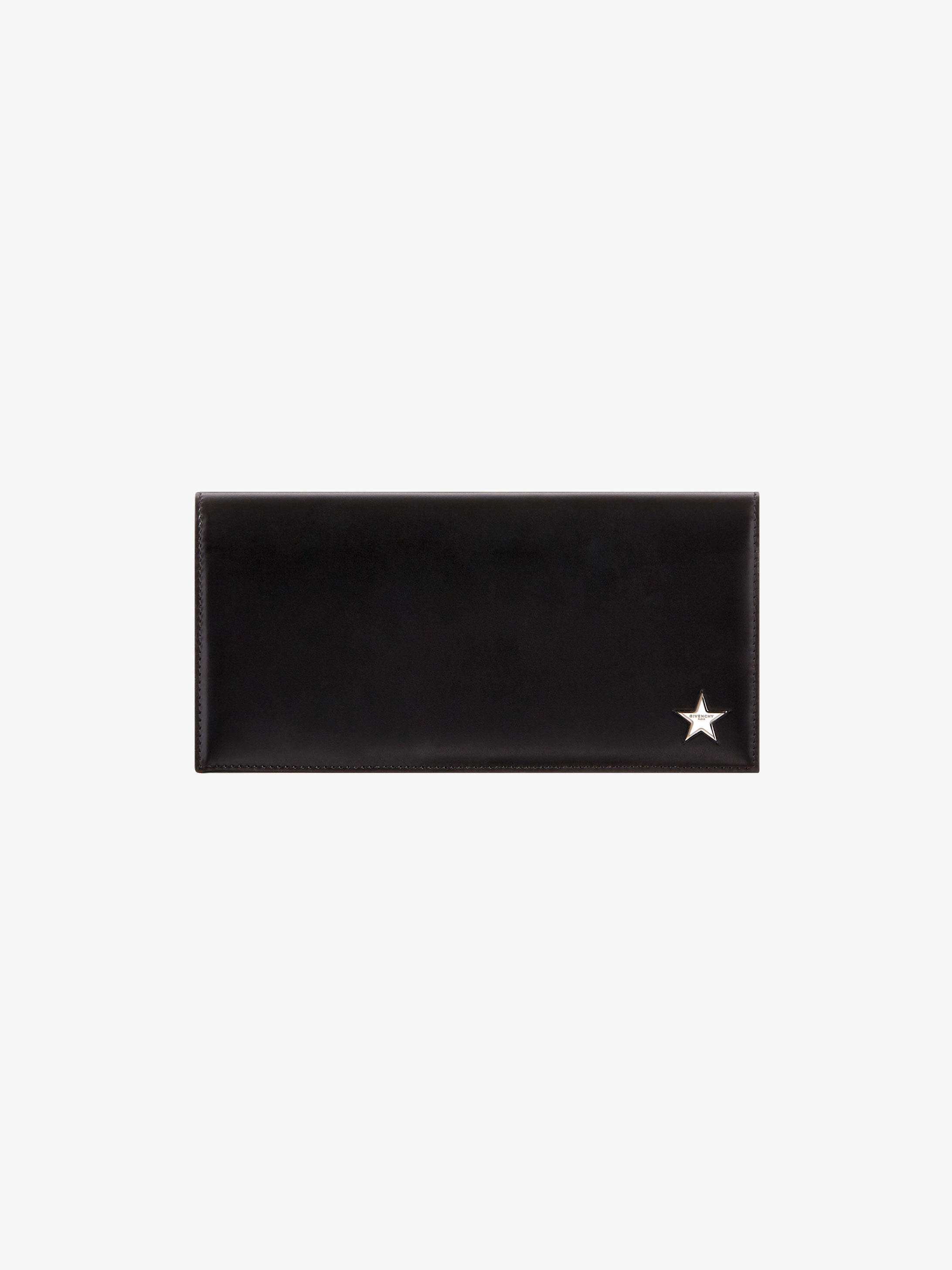Metallic star long flap wallet