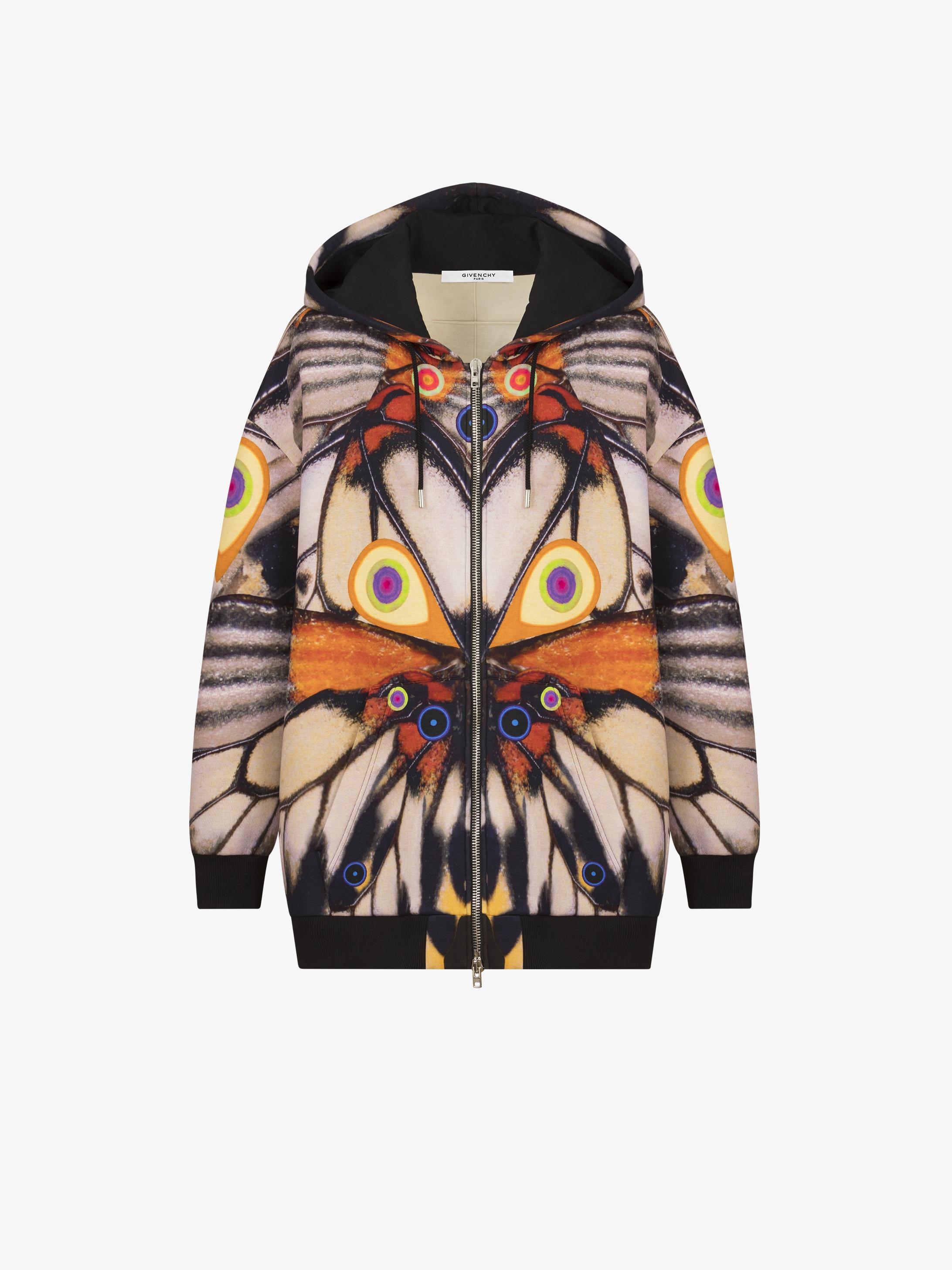 Butterfly printed hoodie jacket