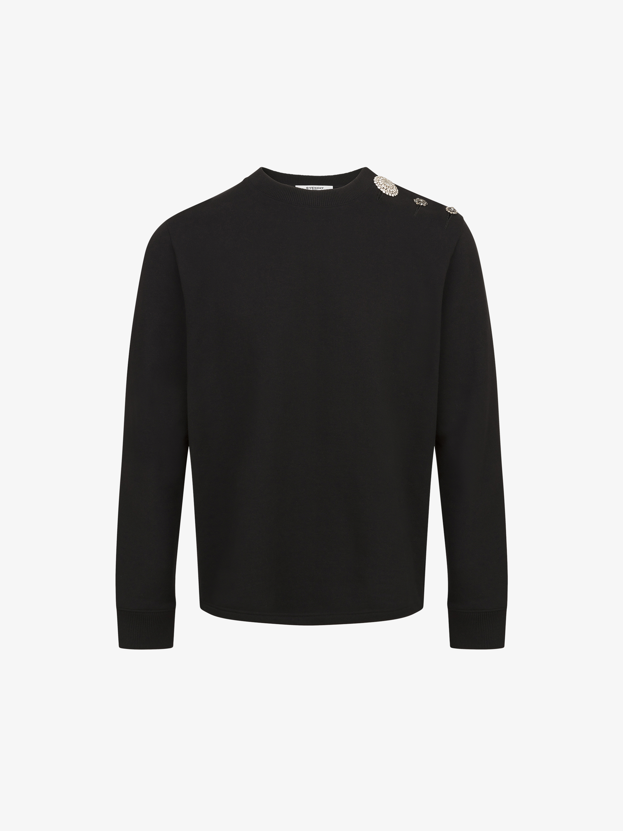 Jewelry buttons sweatshirt