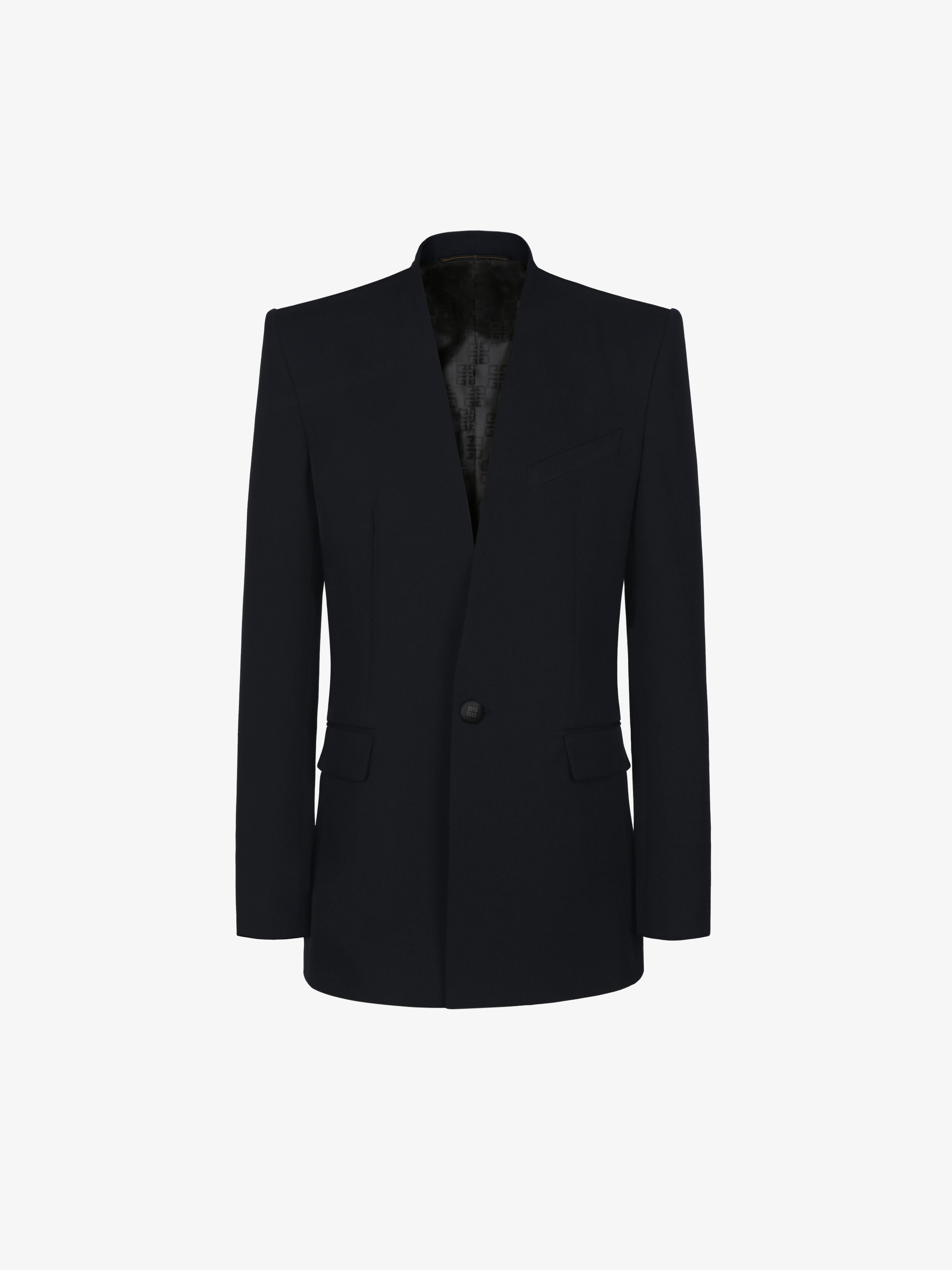 Collarless tuxedo jacket in wool