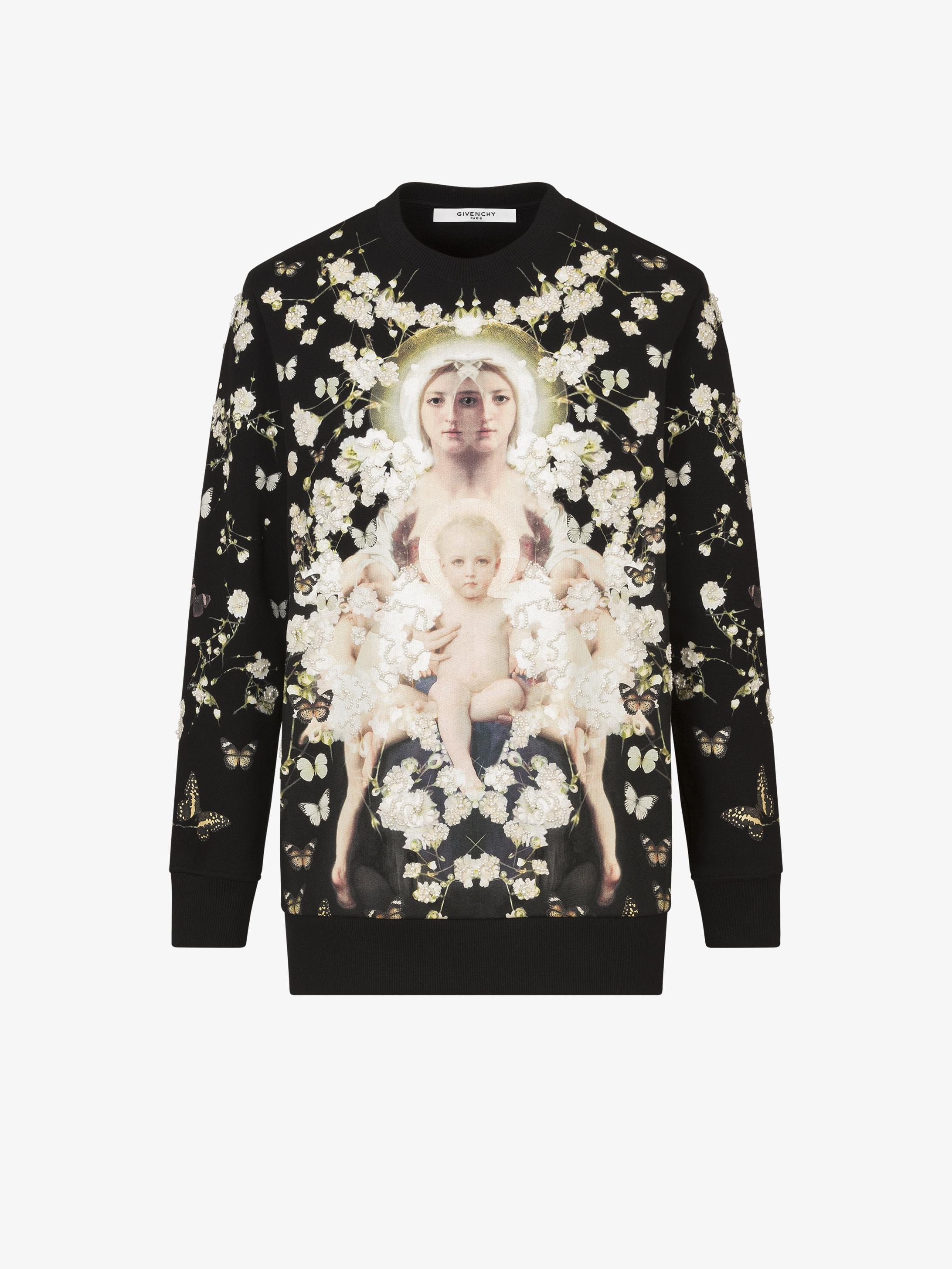 Baby's breath Madonna embroidered sweatshirt