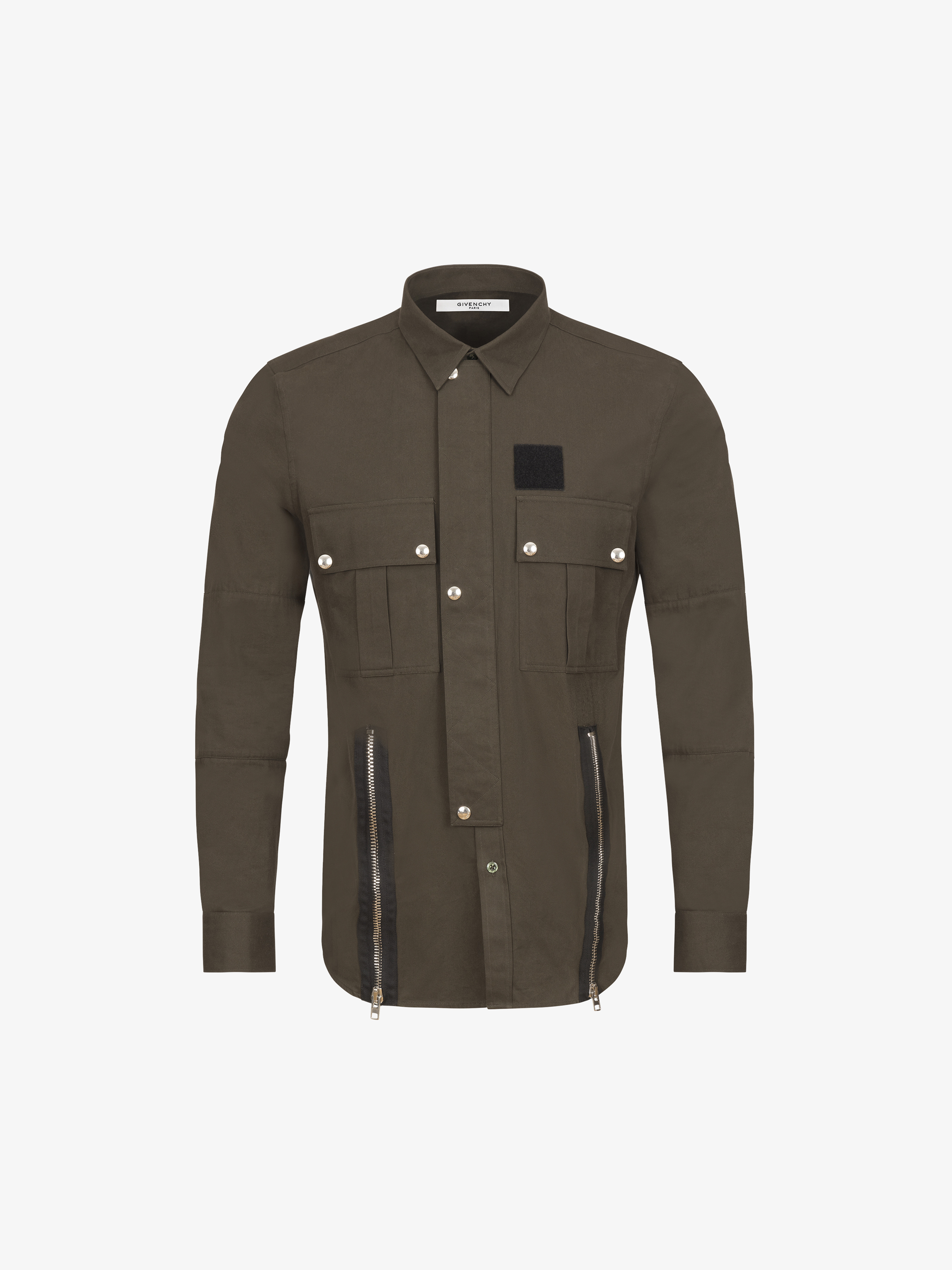 Zips, velcro and press studs details shirt