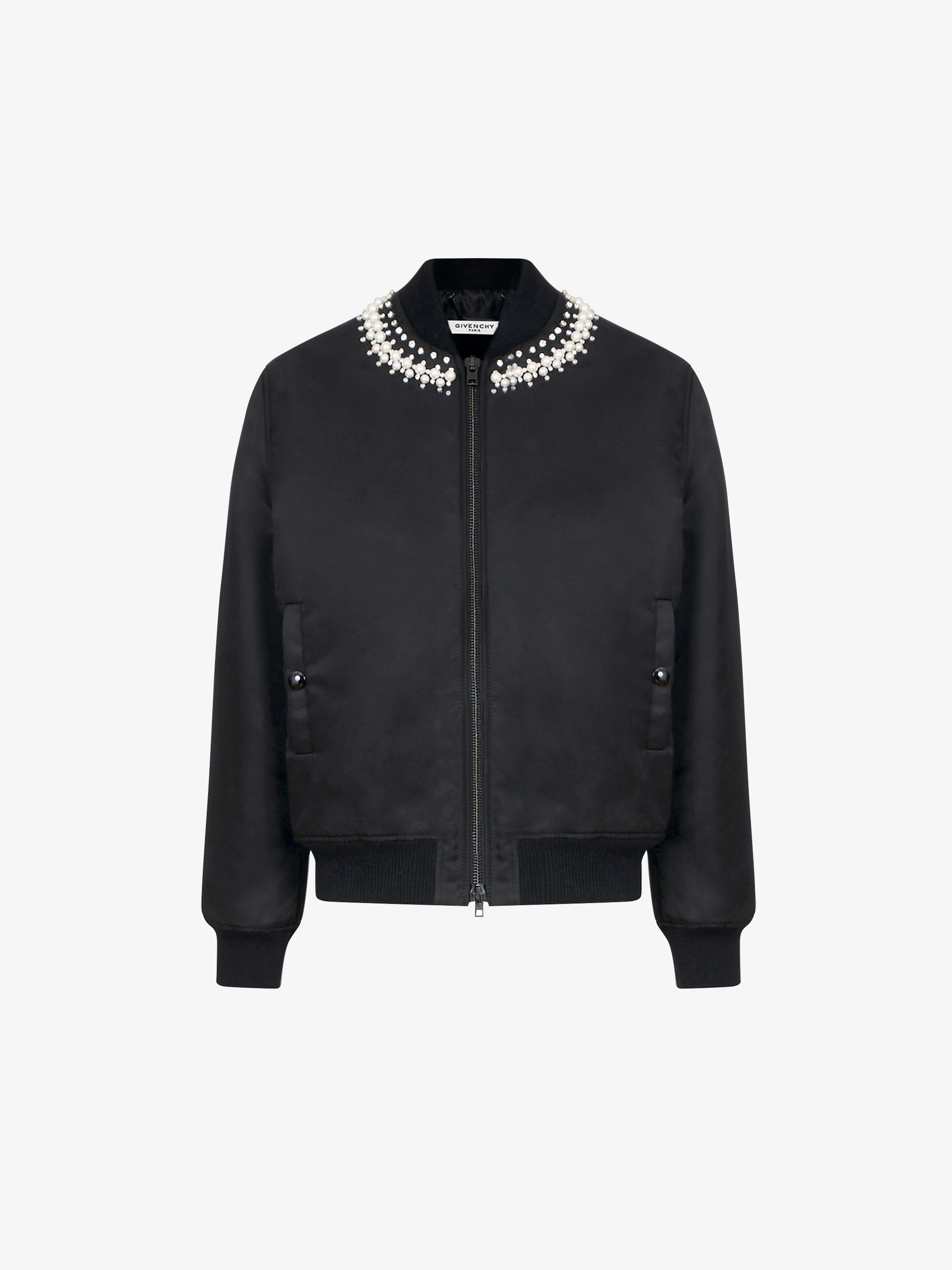 Pearls & crystals embroidered bomber jacket