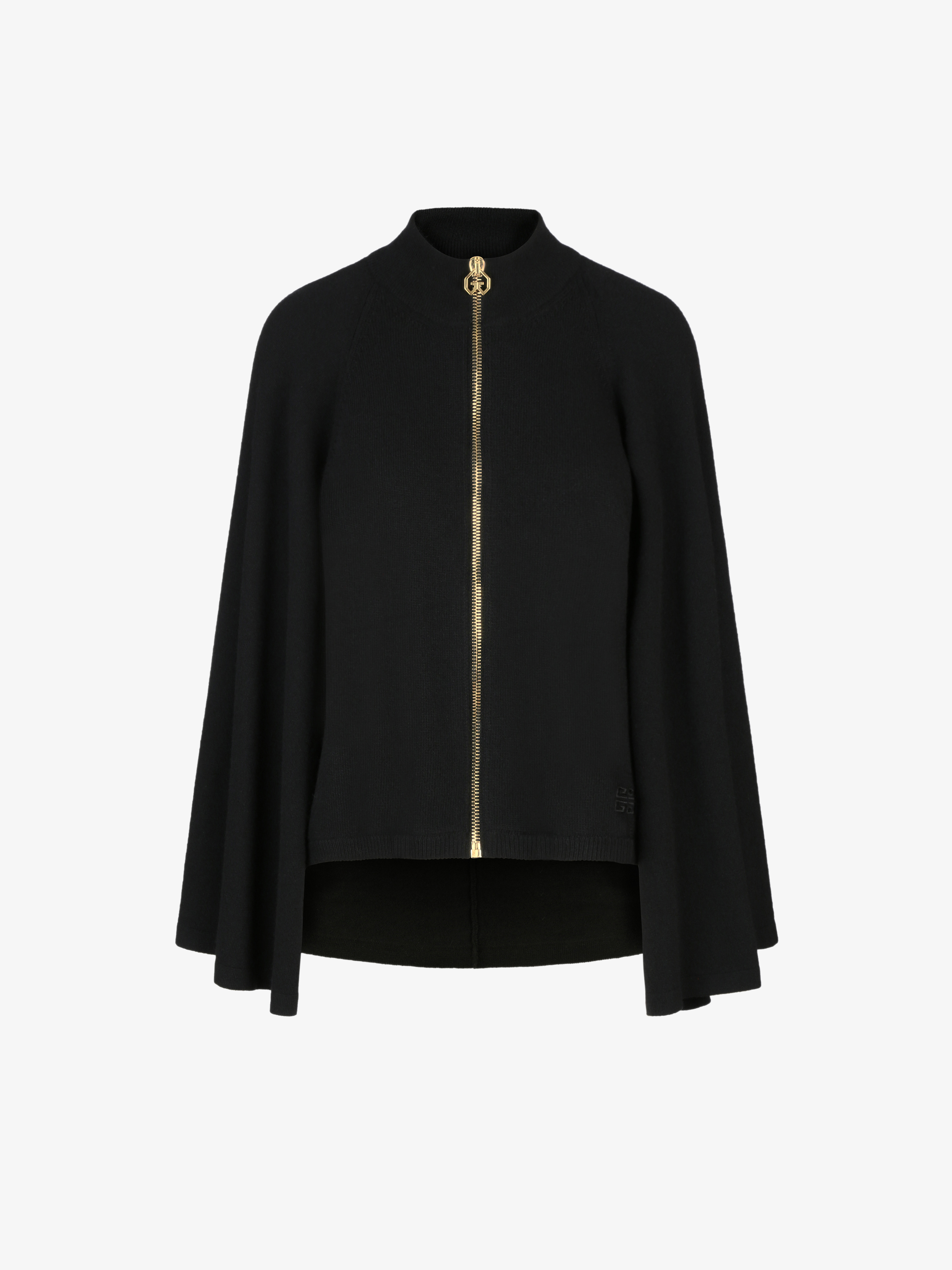 Zipped cape cardigan in wool and cashmere