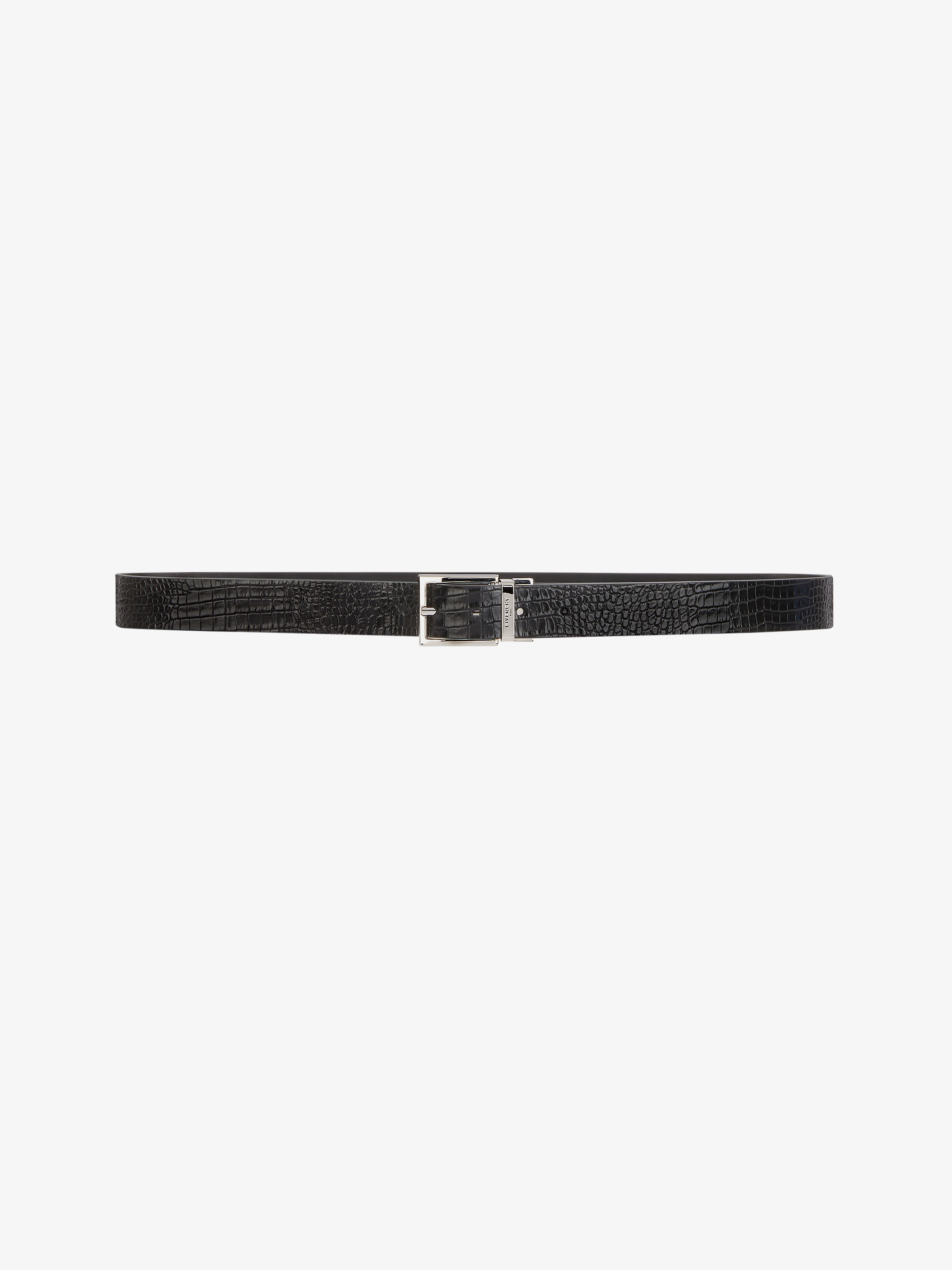 Reversible belt in crocodile effect leather
