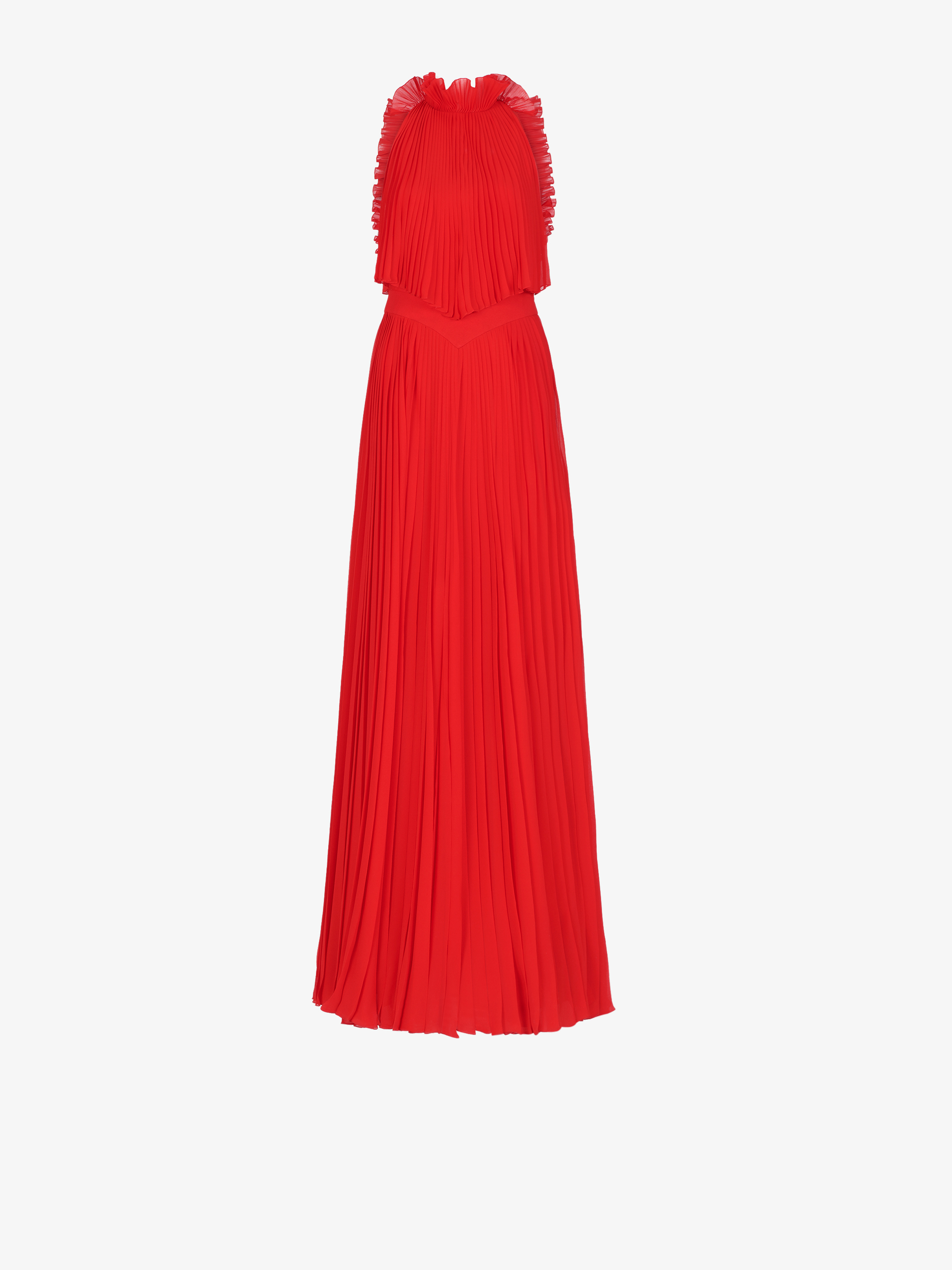 Pleated evening dress with ruffles