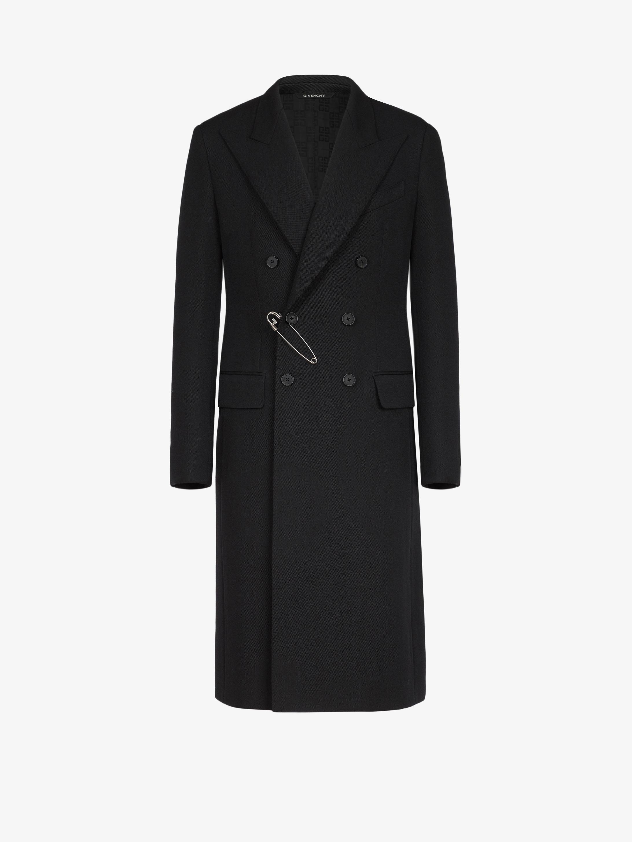 Manteau croisé en laine à épingle G