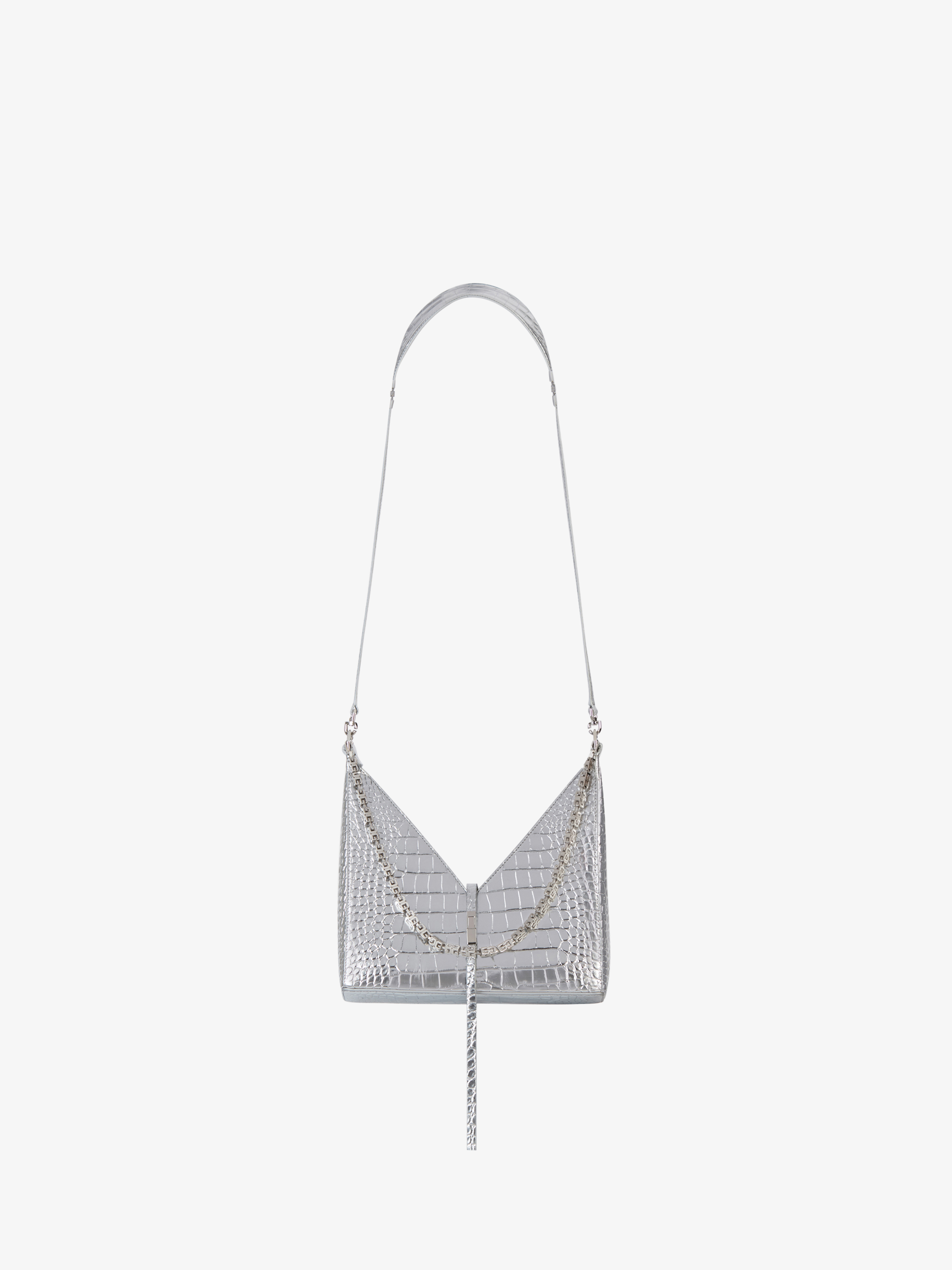 Small Cut Out bag in crocodile effect leather with chain