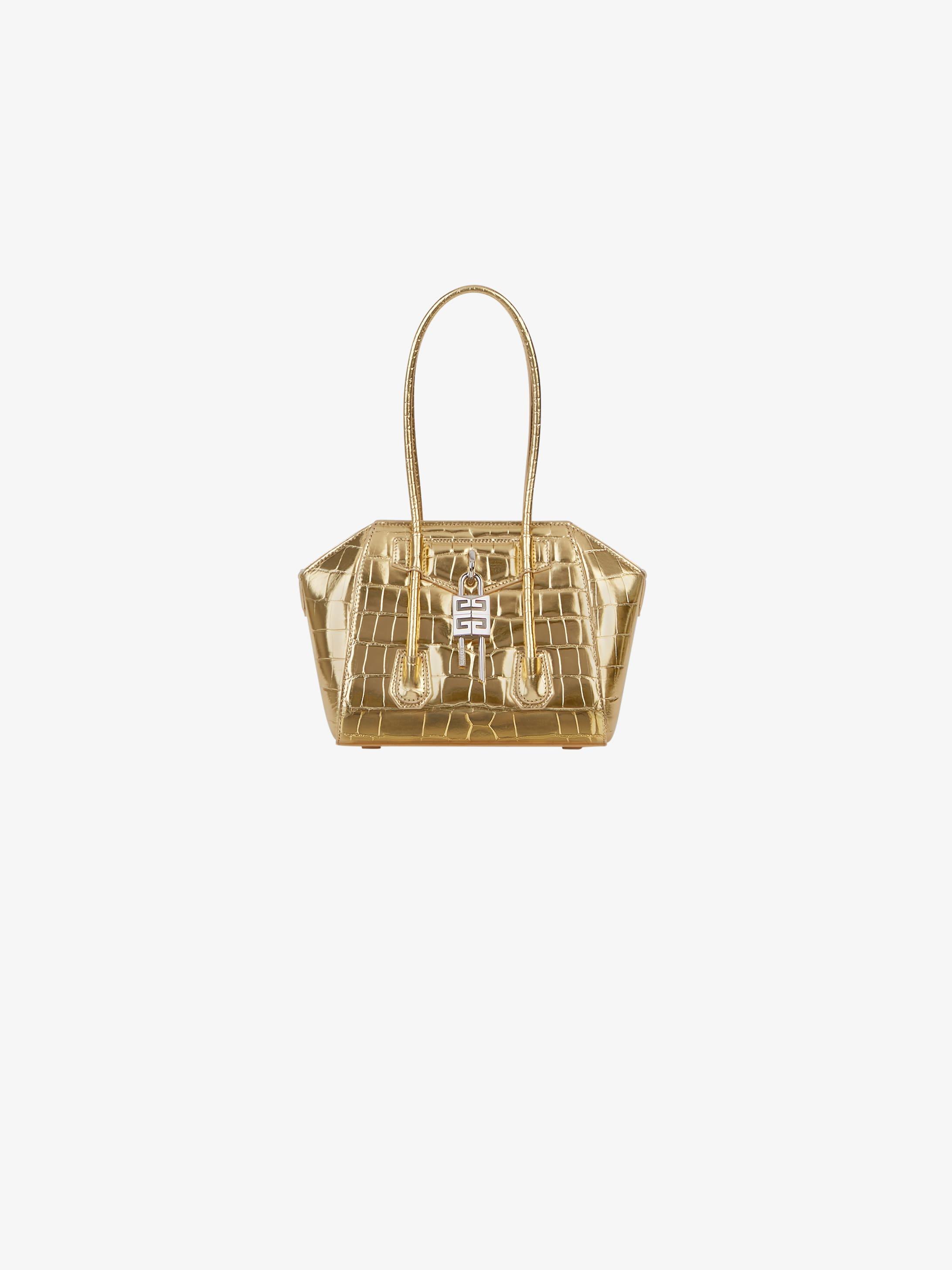 Mini Antigona Lock bag in metallized crocodile effect leather