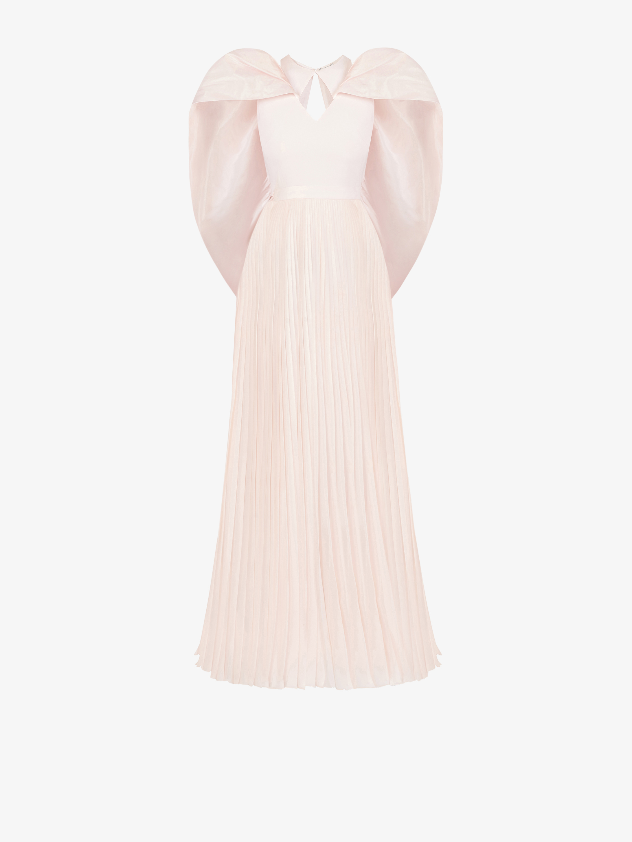 Pleated evening dress with cape