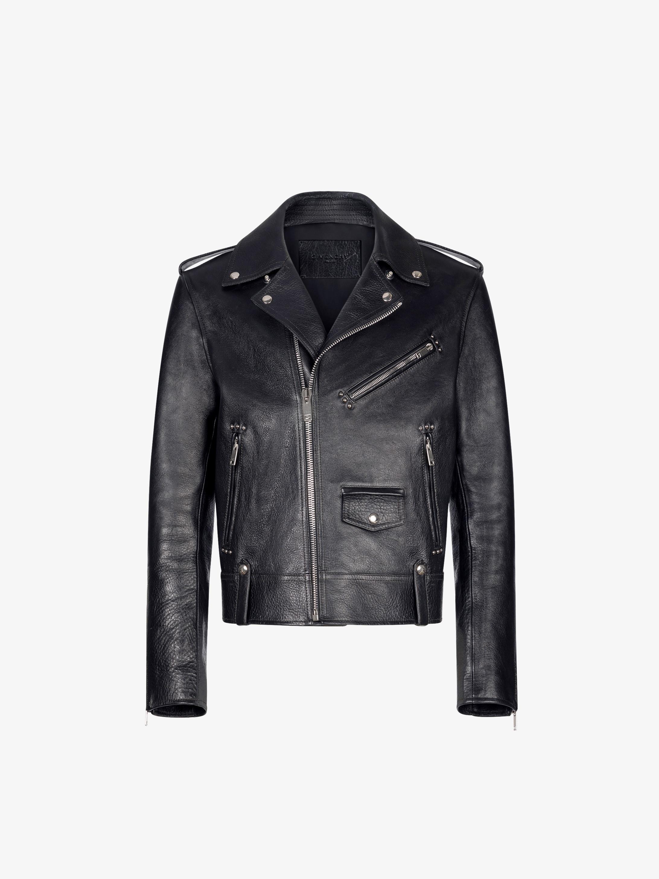 Biker jacket in leather with metallic details